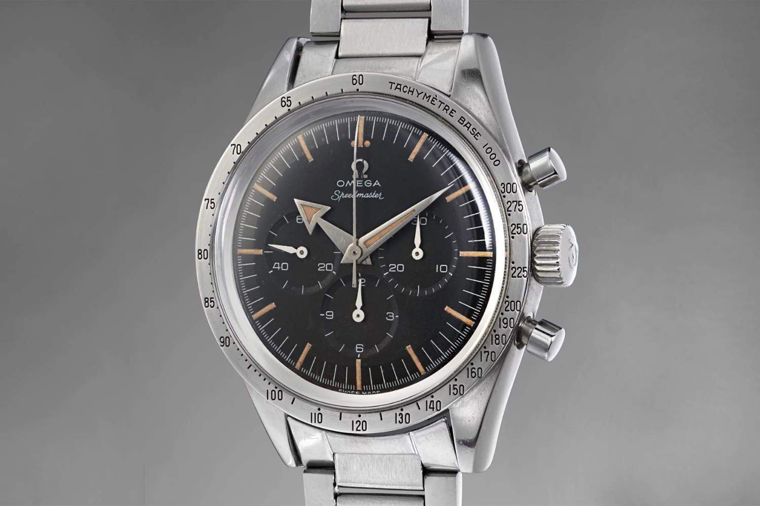 The CK2915-The Omega Speedmaster launched in 1957 was the very first chronograph with the tachymeter featured on the bezel of the watch; it was also one of the first Omega watches to use the Lemania 2310-based calibre 321; the watch seen here is a CK2915-1 sold by Phillips, at their Geneva Watch Auction on 12 May 2018, for CHF408,500 against an estimate of CHF 80,000-140,000 (Image: phillipswatches.com)1 sold by Phillips, at their Geneva Watch Auction on 12 May 2018, for CHF408,500 against an estimate of CHF 80,000-140,000 (Image: phillipswatches.com)