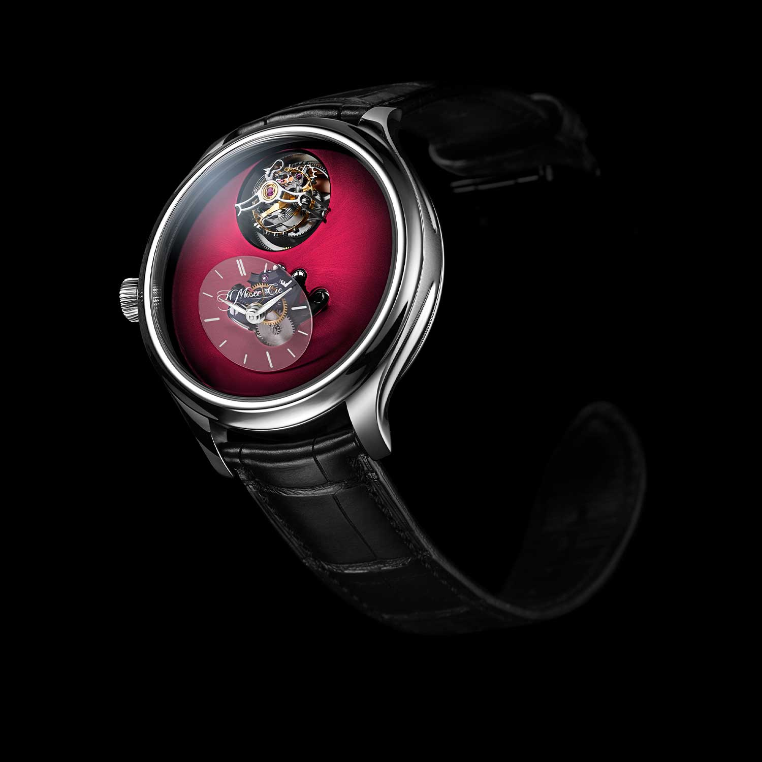 MB&F × H. Moser Endeavour Cylindrical Tourbillon with the Burgundy dial