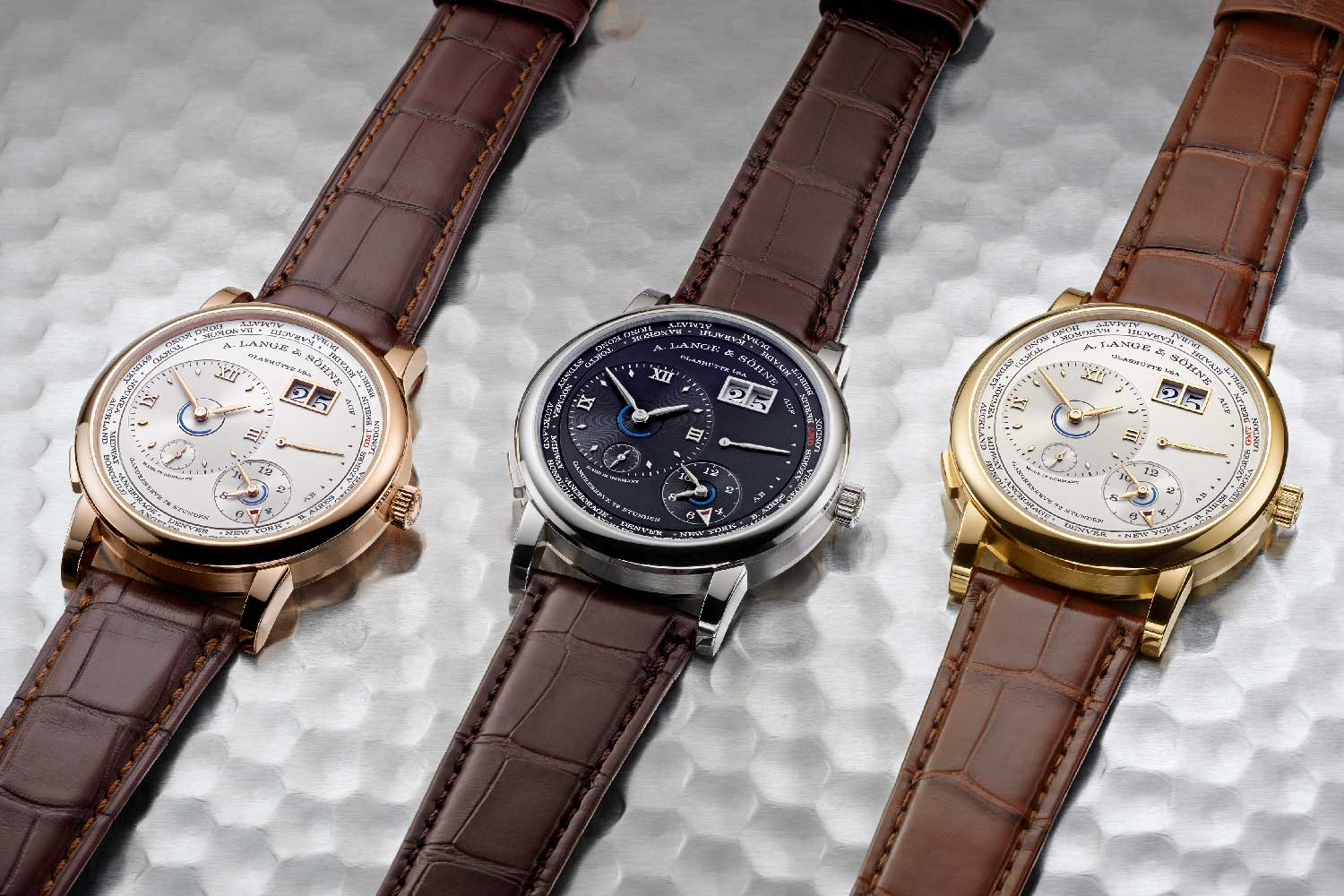 The 2020 Lange 1 Time Zone will come in three precious metal options: yellow gold with a solid silver champagne dial, a white gold version with black solid silver dial and lastly a pink gold version with a solid silver argenté dial