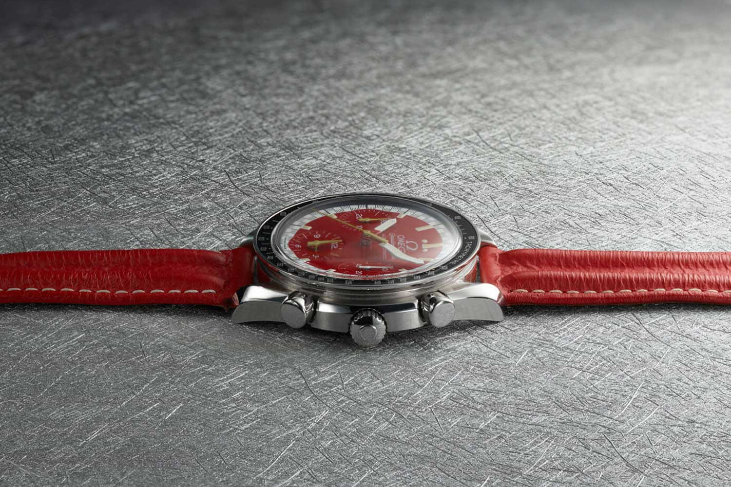 1996 Racing Speedmaster Reduced Launched by Michael Schumacher on a specially produced double ridged leather strap (Image: omegawatches.com)