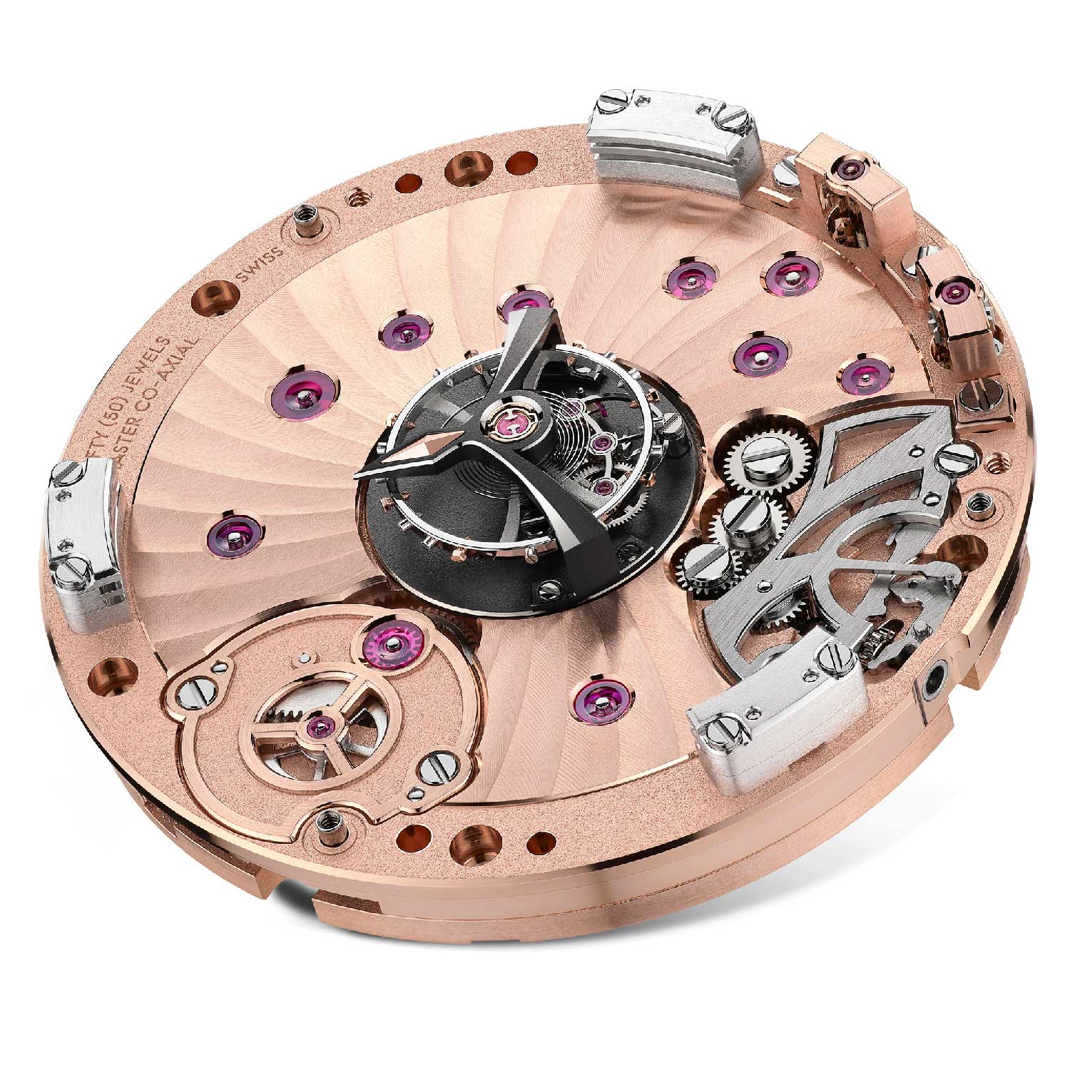 The dial-side of the Calibre 2640 shows the driving gears for the hands on the periphery of the movement.