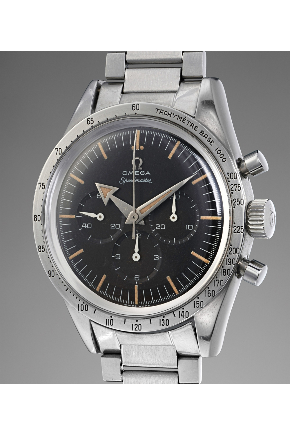 The Omega Speedmaster launched in 1957 was the very first chronograph with the tachymeter featured on the bezel of the watch; it was also one of the first Omega watches to use the Lemania 2310-based calibre 321; seen here is the CK2915-1 sold by Phillips, at their Geneva Watch Auction on 12 May 2018, for CHF408,500 against an estimate of CHF 80,000-140,000 (Image: phillipswatches.com)