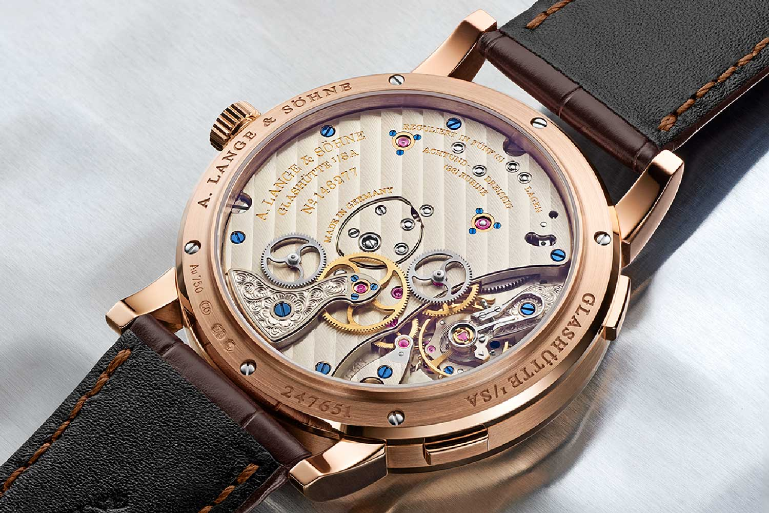 The case back of the 2020 Lange 1 Time Zone, showing off its new heart, the calibre :141.1