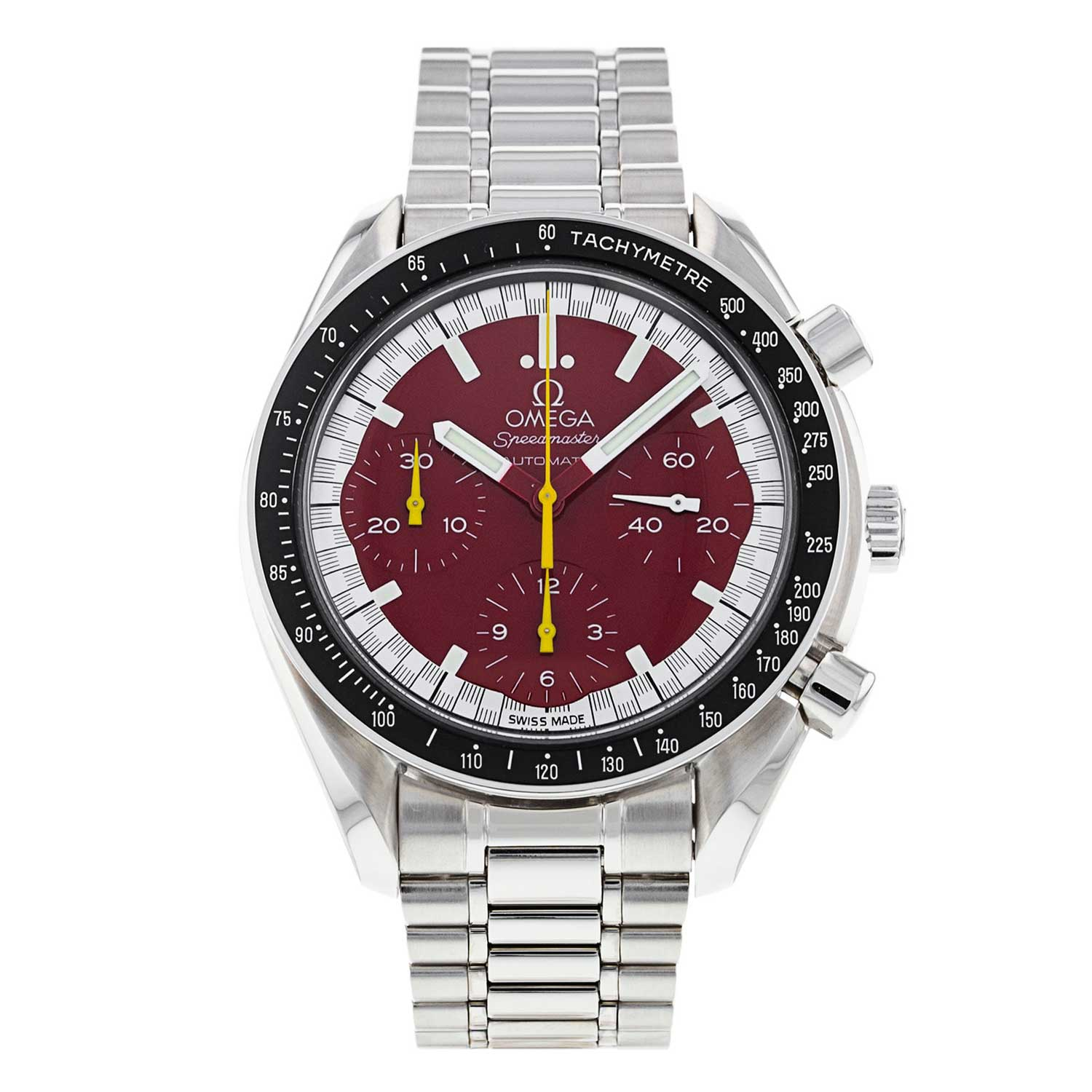 1996 Racing Speedmaster Reduced Launched by Michael Schumacher on a steel bracelet