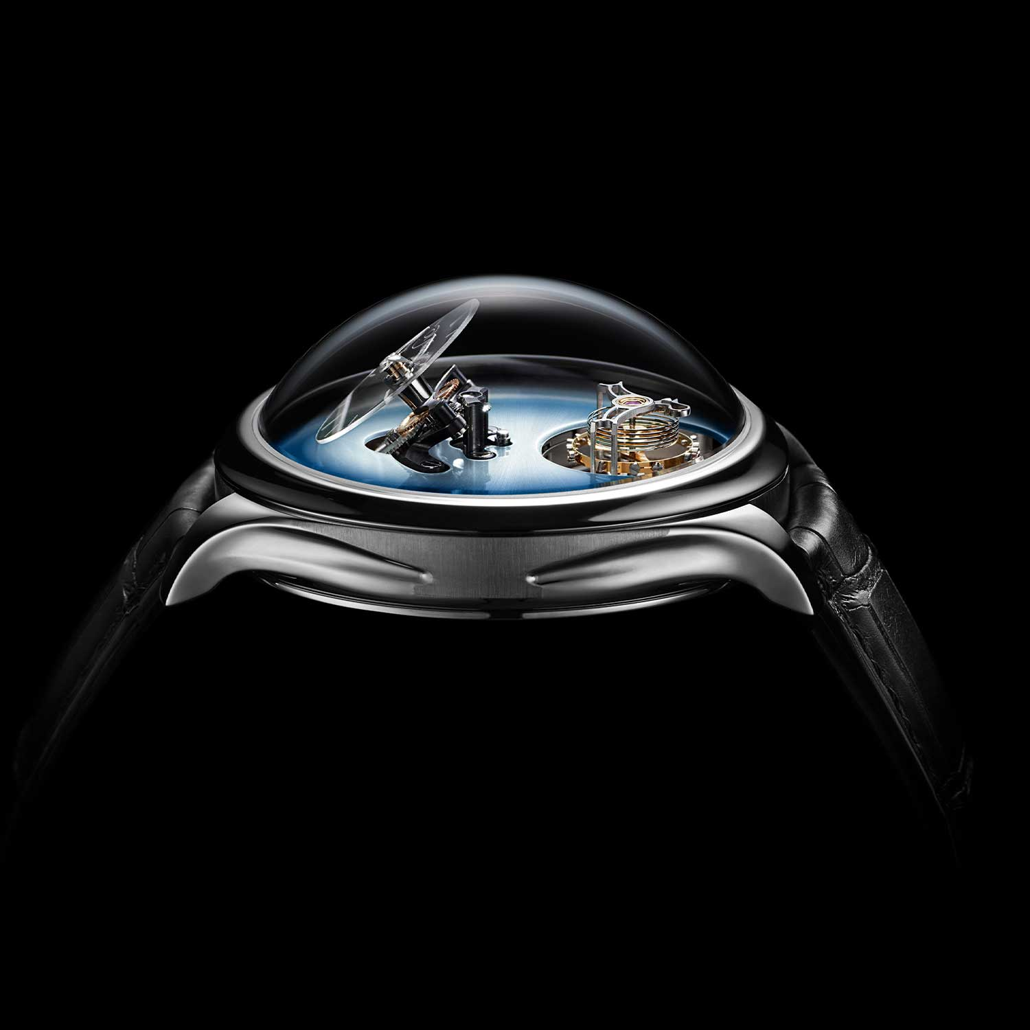 The domed sapphire crystal gives the MB&F × H. Moser Endeavour Cylindrical Tourbillon a height of 19.5mm