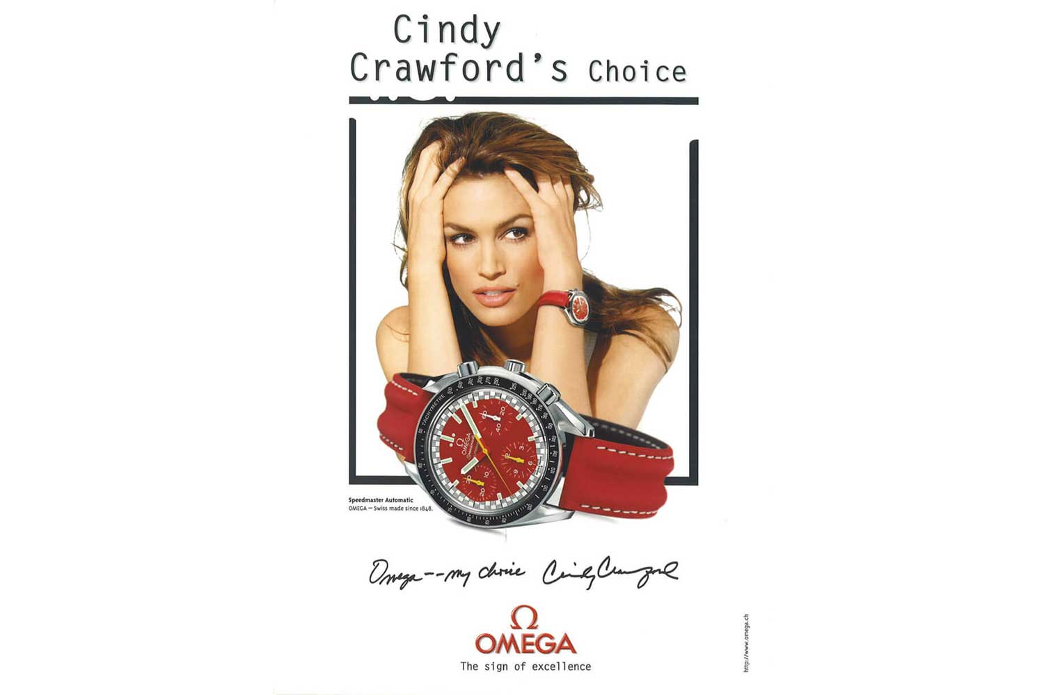 A long time Omega ambassador and super model, Cindy Crawford featured here on a 90s Omega advertisement wearing the 1996 Racing Speedmaster Reduced Launched by Michael Schumacher (Image: omegawatches.com)