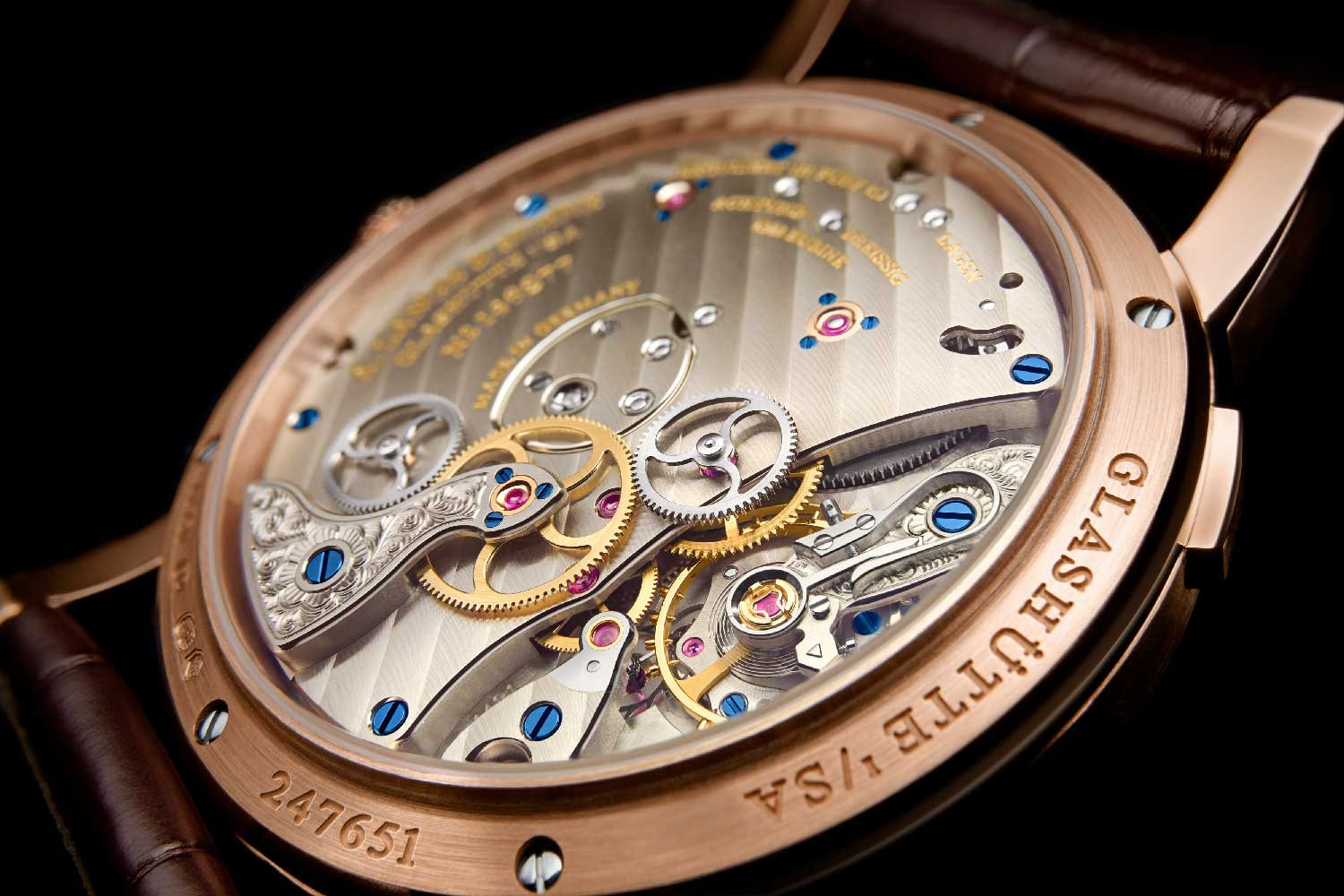 A closer look at the opening on the ¾ plate movement of the calibre :141.1, showing the escapement assembly