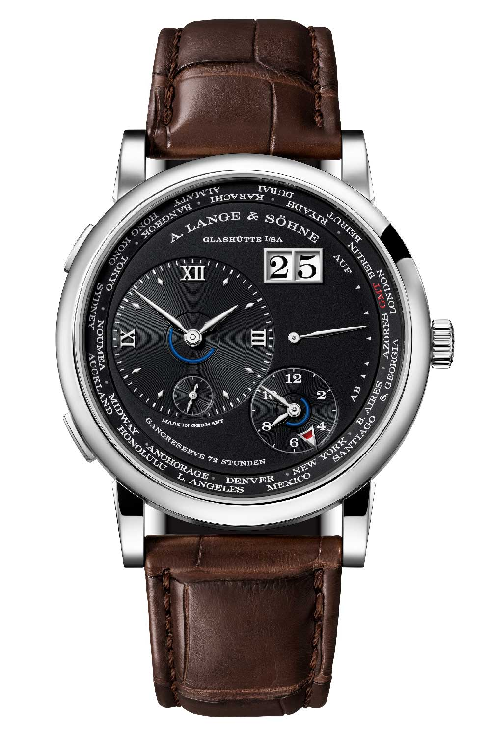 The new Lange 1 Time Zone in solid silver argenté dial