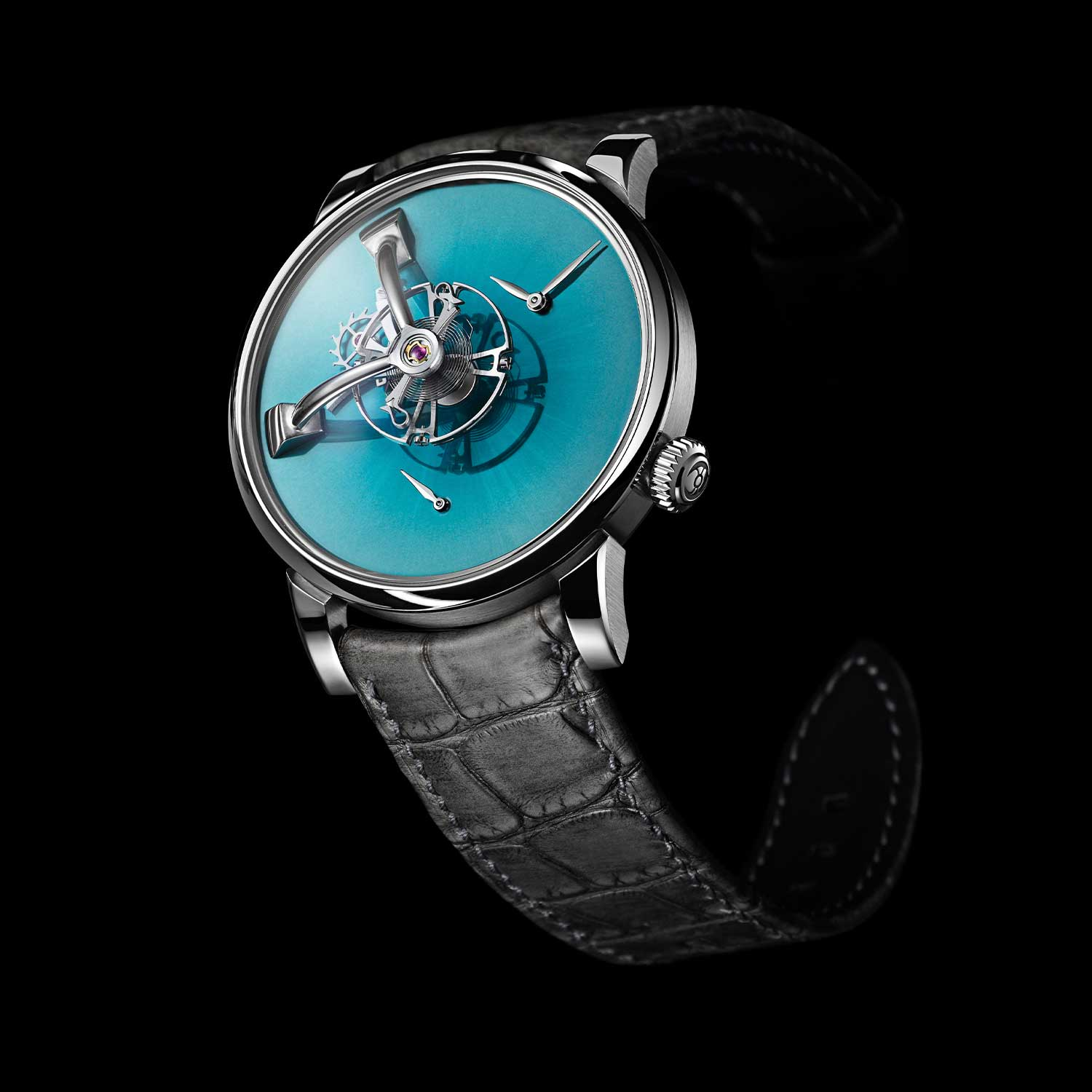 MB&F × H. Moser LM101 in Yas Marina Blue (only available with Ahmed Seddiqi & Sons)