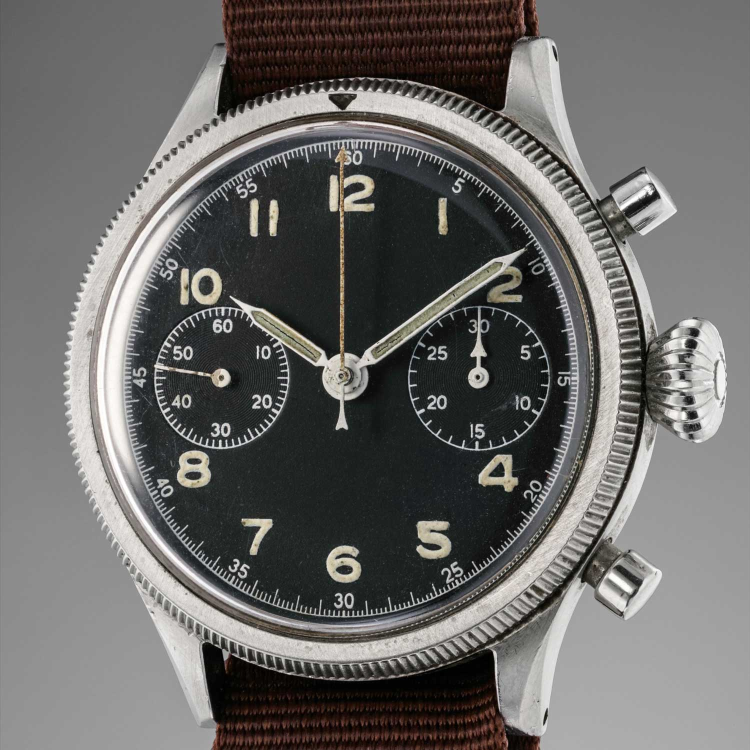 A 1955 Breguet, Type 20, ref. 5101/54 with the black sterile dial, sold by Phillips Watches at their May 2018 Geneva sale for CHF 43,750 (Image: Phillips Watches)