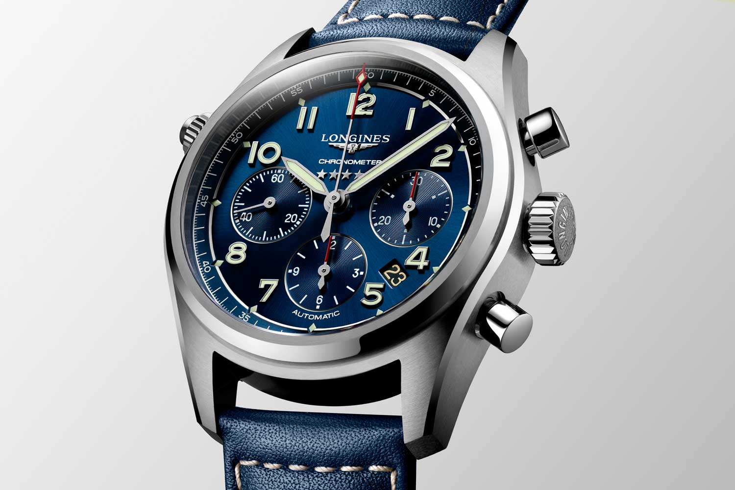 The latest iteration, the L3.820.4.93.0 Spirit Chronograph from Longines