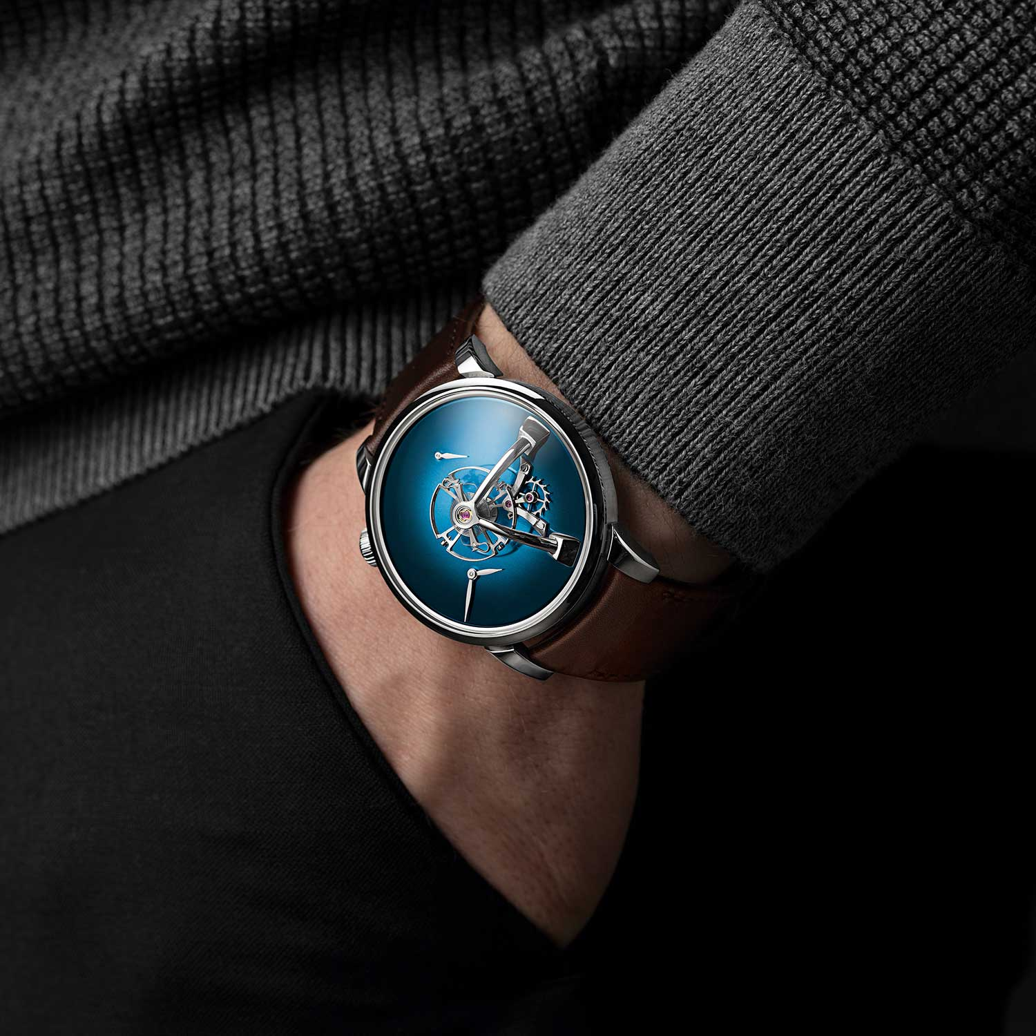 MB&F × H. Moser LM101 in Funky Blue on the wrist
