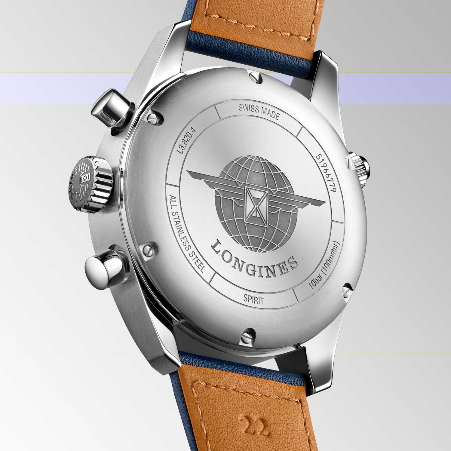 Caseback of the L3.820.4.93.0 Spirit Chronograph from Longines