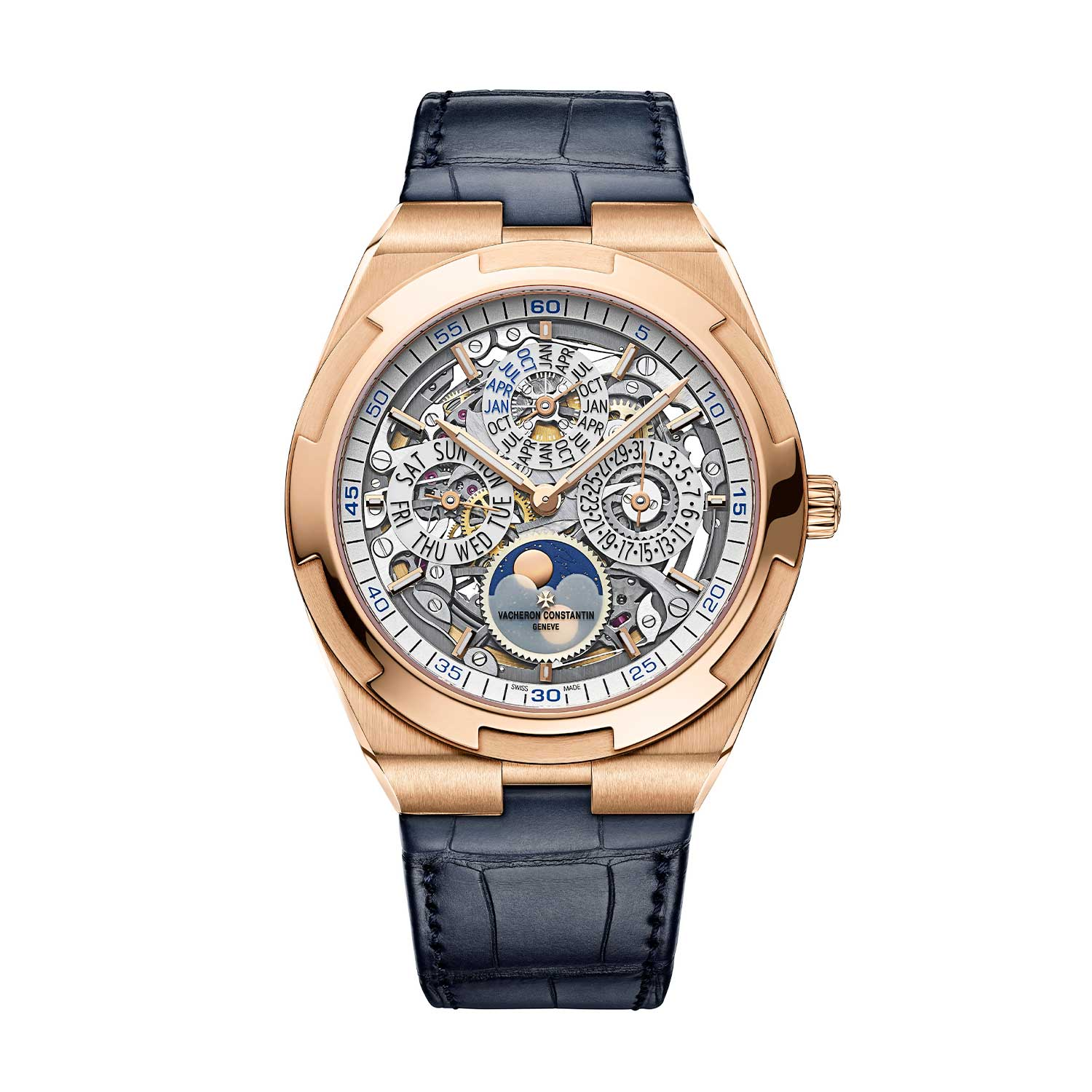 2020 41.5mm Overseas Perpetual Calendar Ultra-Thin Skeleton ref. 4300V/120R-B547 on a leather strap