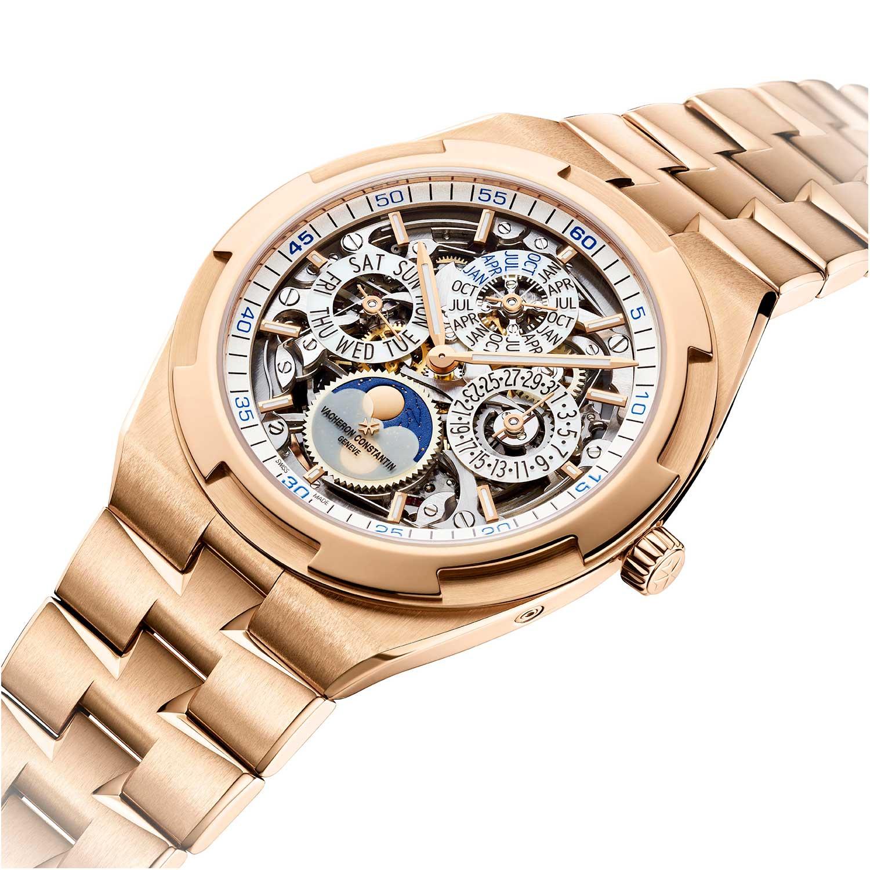 2020 41.5mm Overseas Perpetual Calendar Ultra-Thin Skeleton ref. 4300V/120R-B547 on a 18K 5N pink gold bracelet