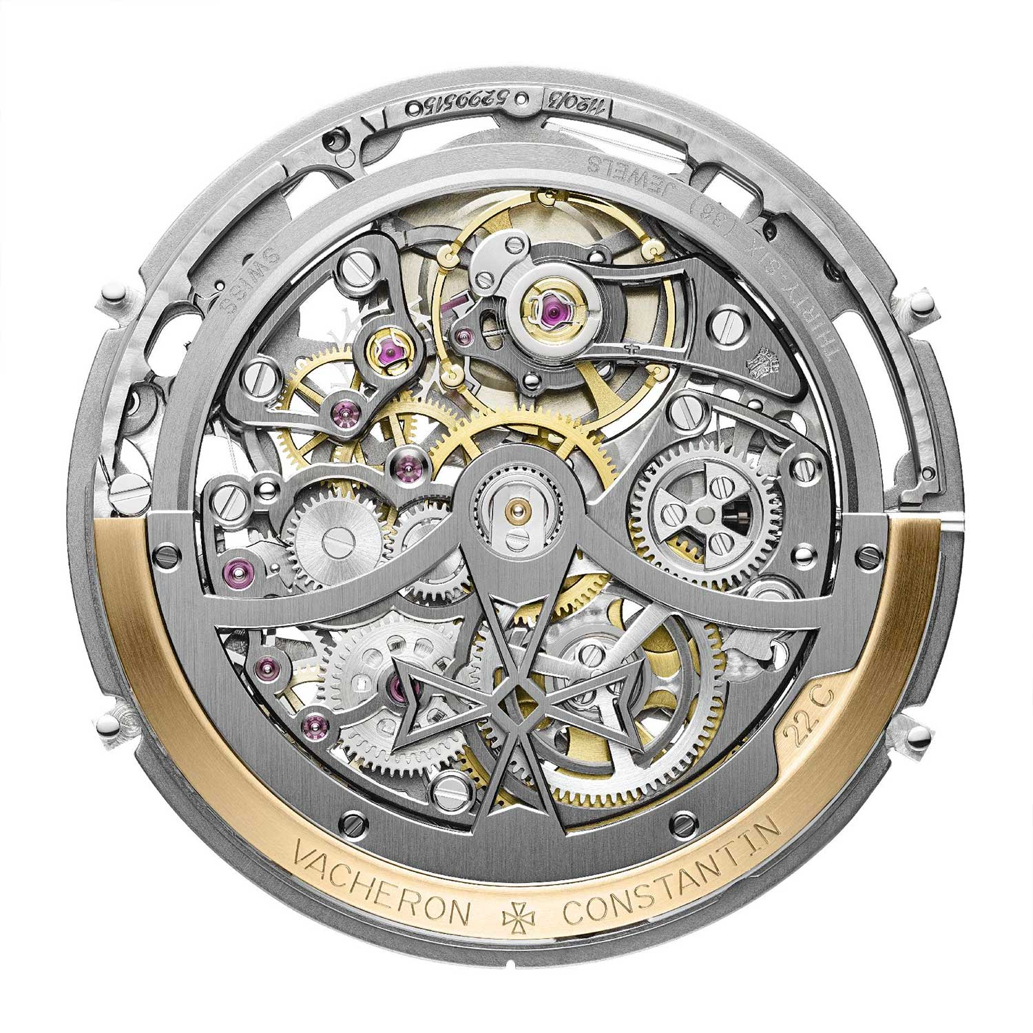 21.6mm diameter, 4.05mm thick; uncased rotor side view of the caliber 1120 QPSQ powering the 2020 41.5mm Overseas Perpetual Calendar Ultra-Thin Skeleton ref. 4300V/120R-B547