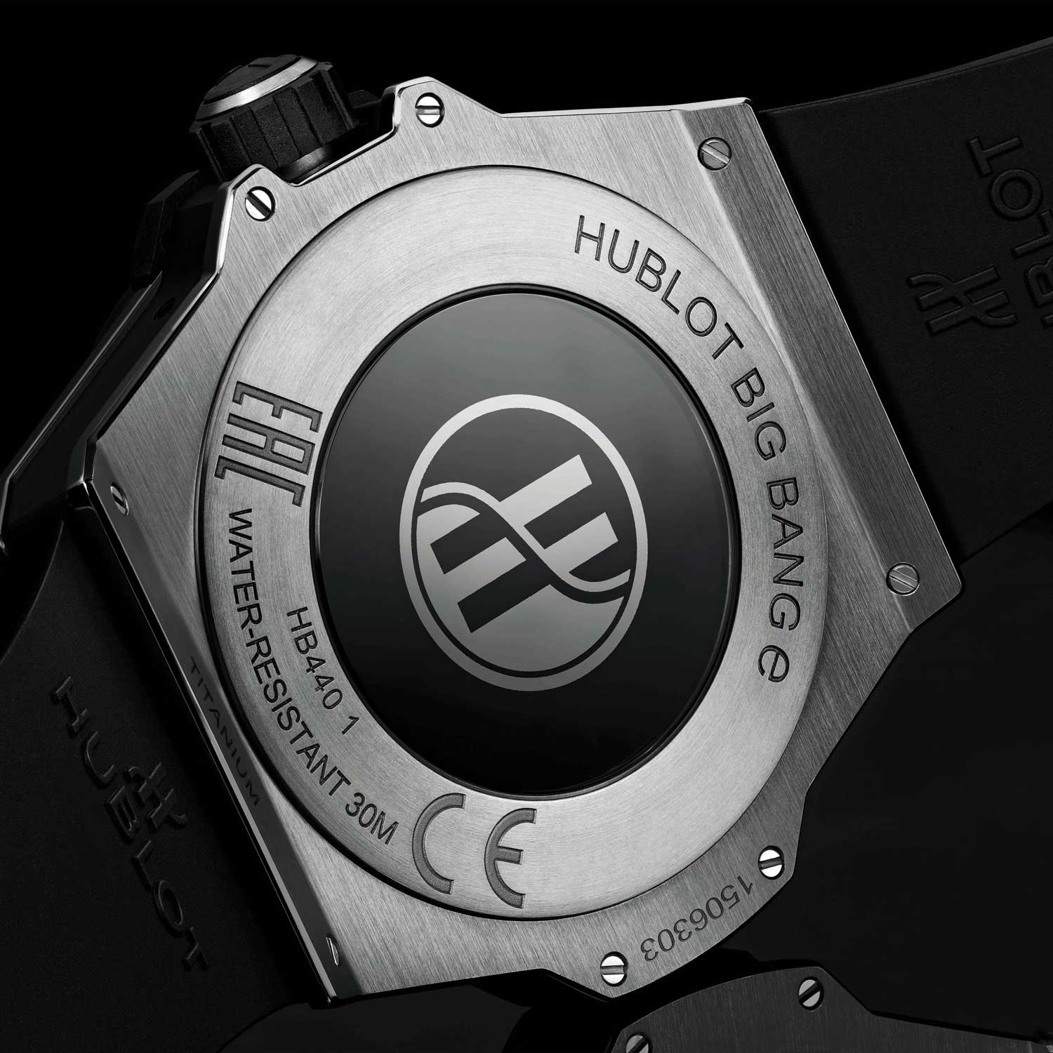 Caseback of the Hublot Big Bang E in titanium showing the induction charging surface