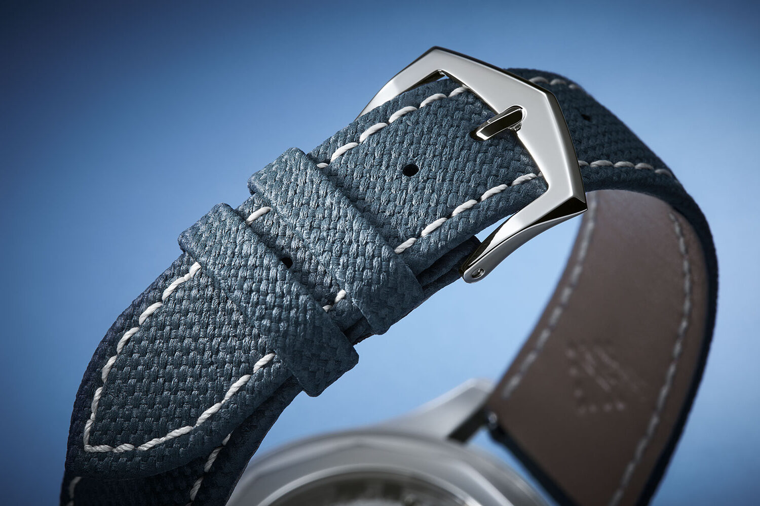 Blue-gray calf skin strap with stainless steel prong buckle on the reference 6007A-001 Calatrava