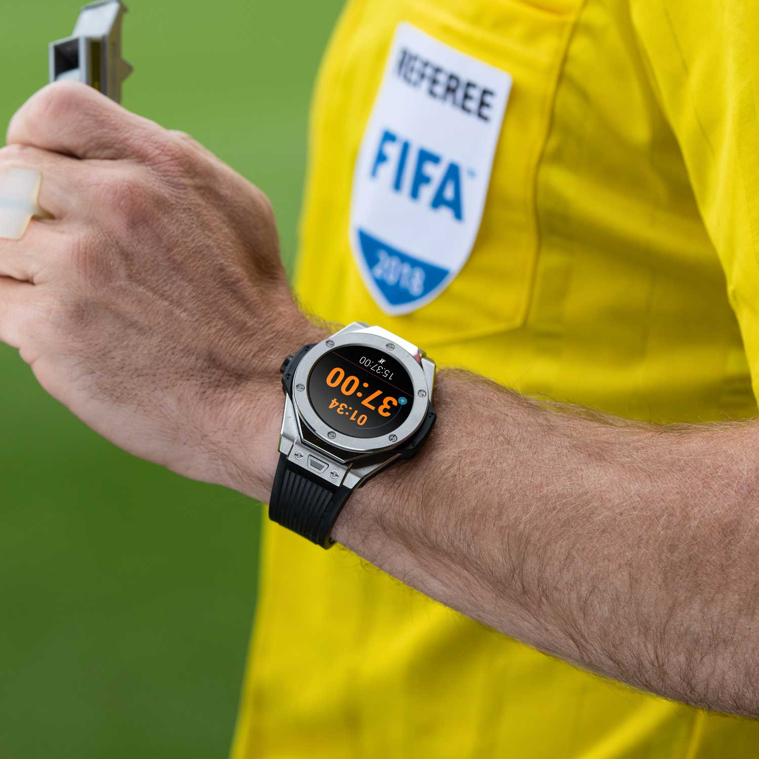 The Big Bang Referee 2018 FIFA World Cup RussiaTM was designed by Hublot on the request of FIFA for referees at World Cup 2018 in form of a Big Bang