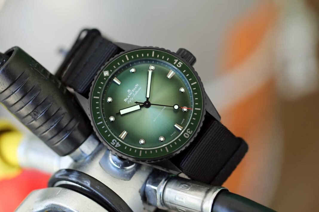 The Bathyscaphe Mokarran Limited Edition with the extraordinarily good-looking green dial, limited to 50 pieces