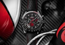 The 2020 Speedmaster Alinghi marks the first timepiece created to mark Omega's partnership with the worldclass Swiss sailing team