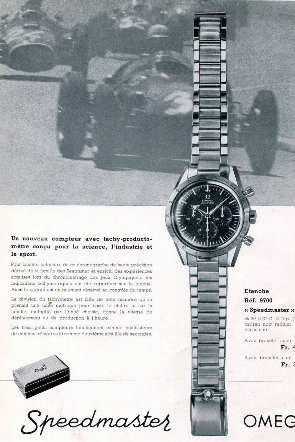 Omega Speedmaster ad for the 1957 CK2915 (Image: omegawatches.com)