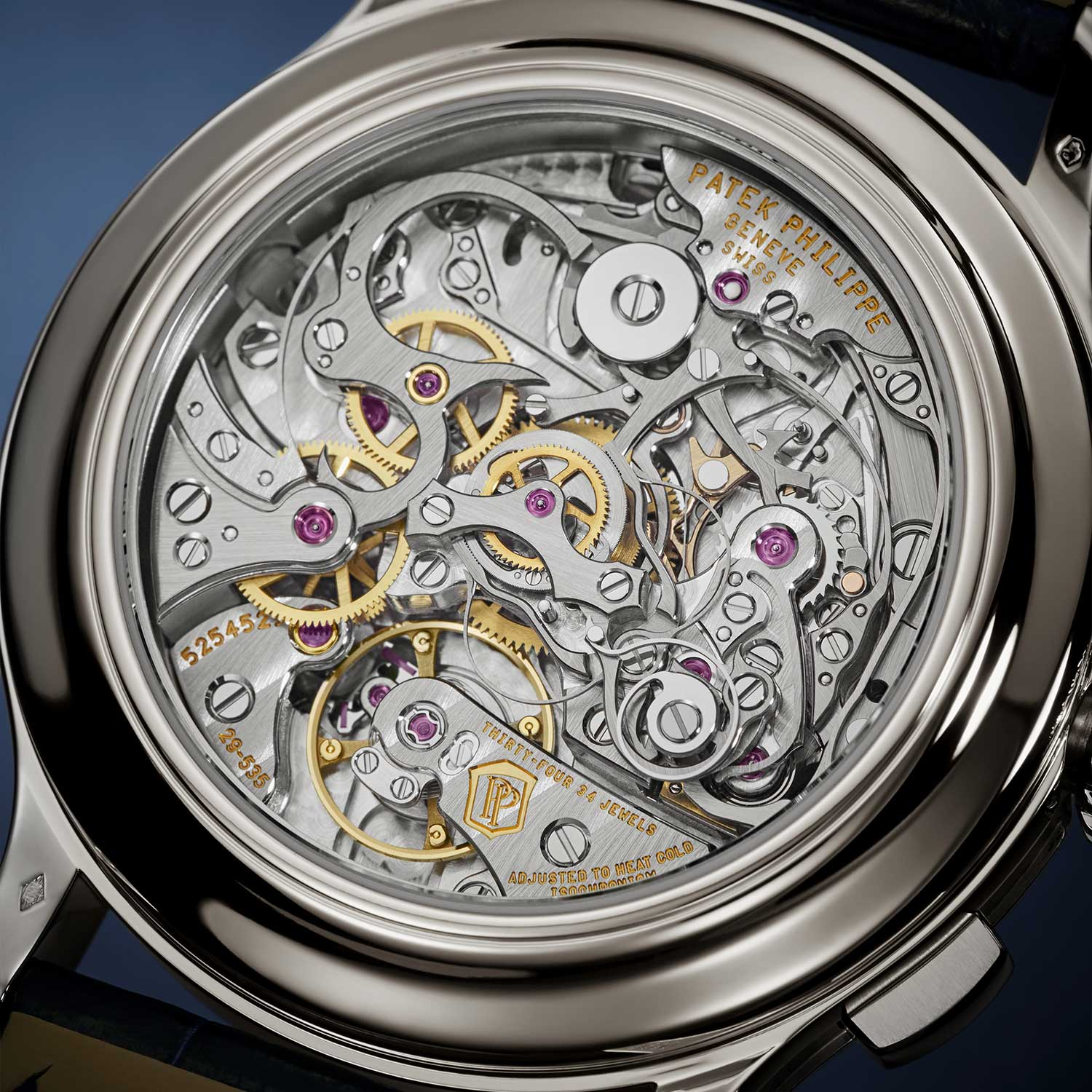 Seen through the caseback of the 5370P, the CH 29-535 PS split seconds chronograph movement powering it