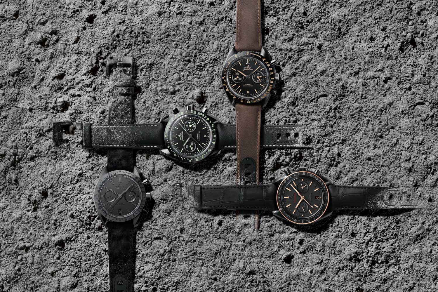 Four versions of the Speedmaster were added to the Dark Side of the Moon Family in 2015: Black Black ref. 311.92.44.51.01.005, Pitch Black ref. 311.92.44.51.01.004. Vintage Black ref. 311.92.44.51.01.006 and, lastly, Sedna Black ref. 311.63.44.51.06.001