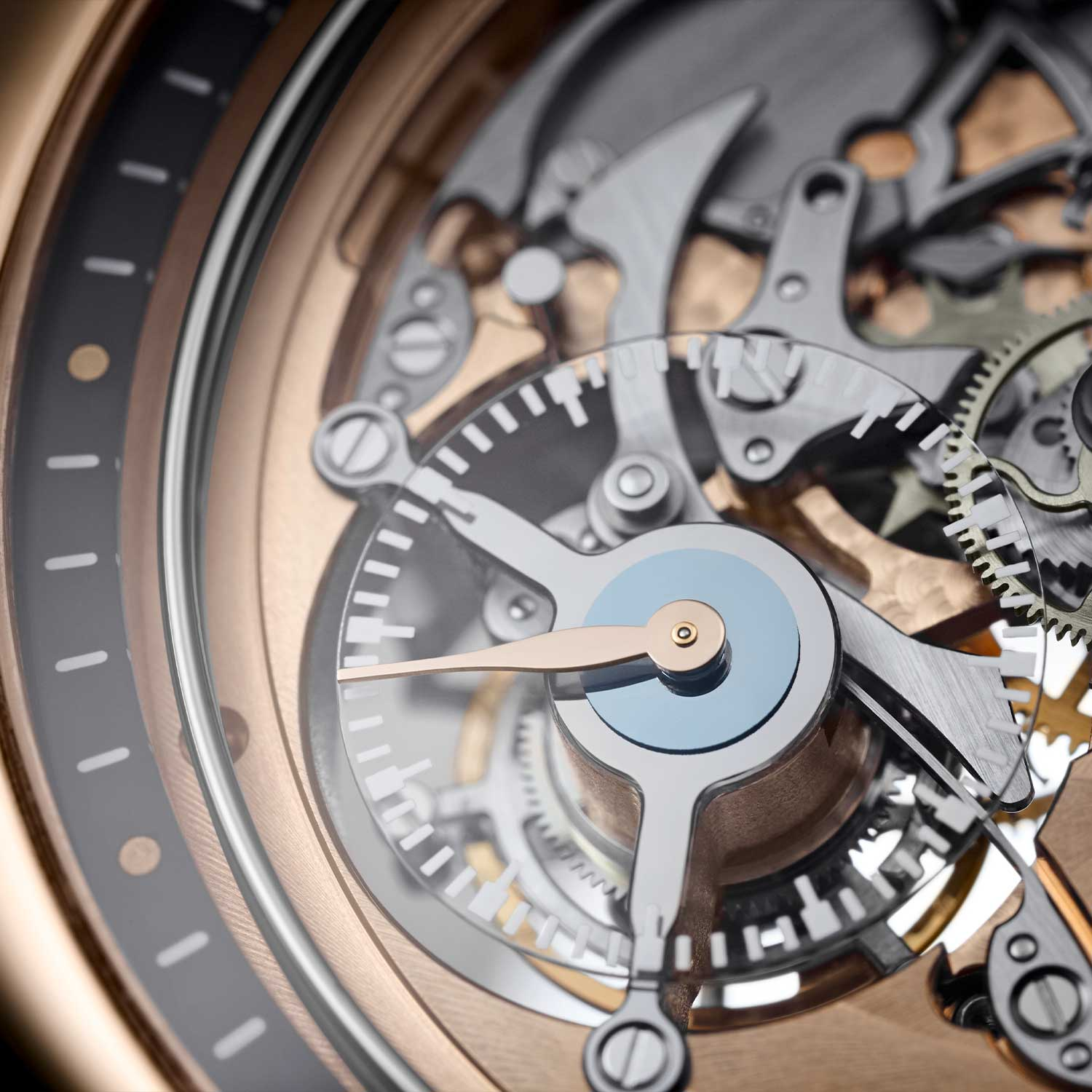 The tourbillon aperture visible from the front of the watch showing the underside of the tourbillon carriage