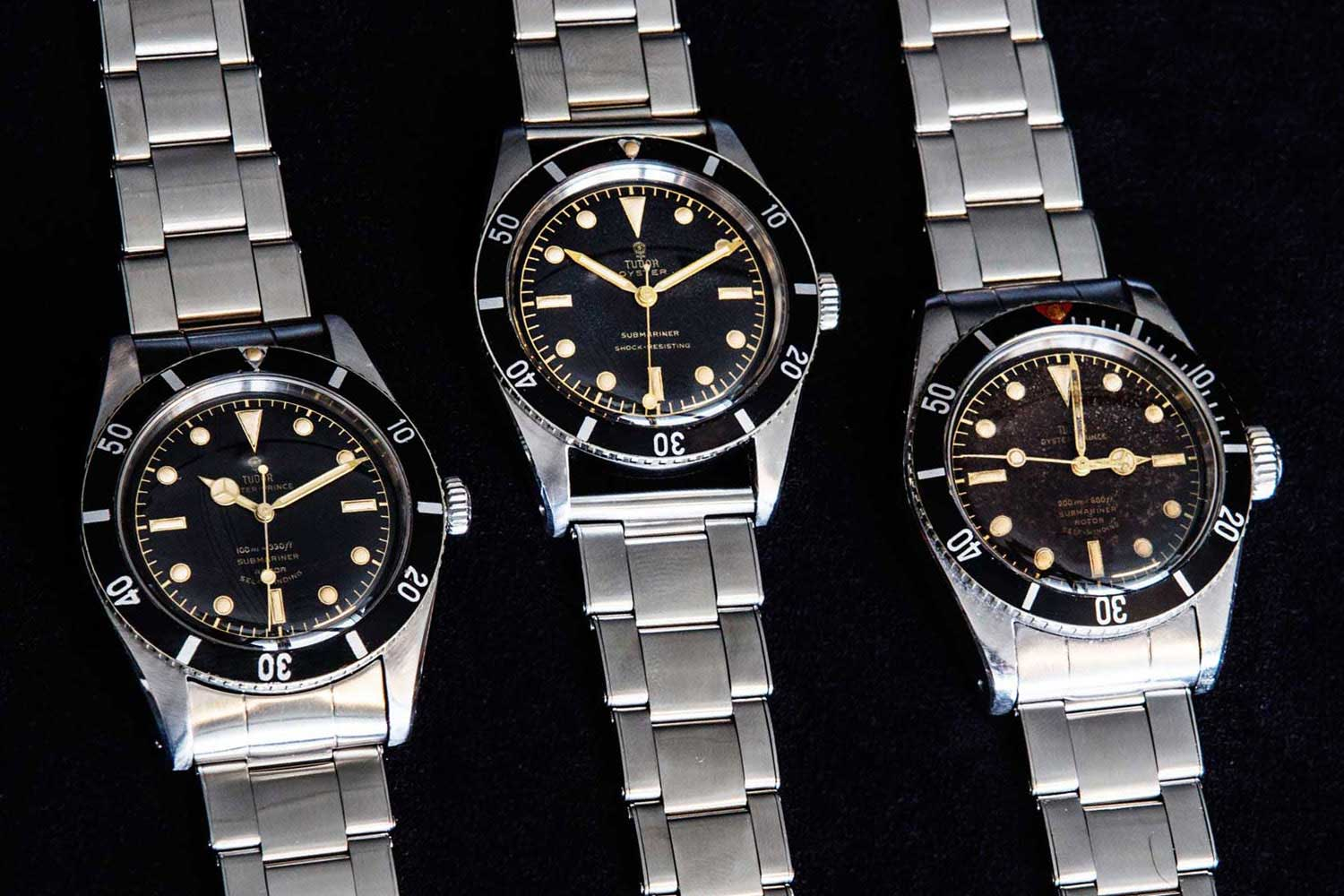 From left to right – Tudor Submariner 7922 (1954) – Tudor Submariner 7923 (1955) – Tudor Submariner 7924 (1958) (Image: monochrome-watches.com)