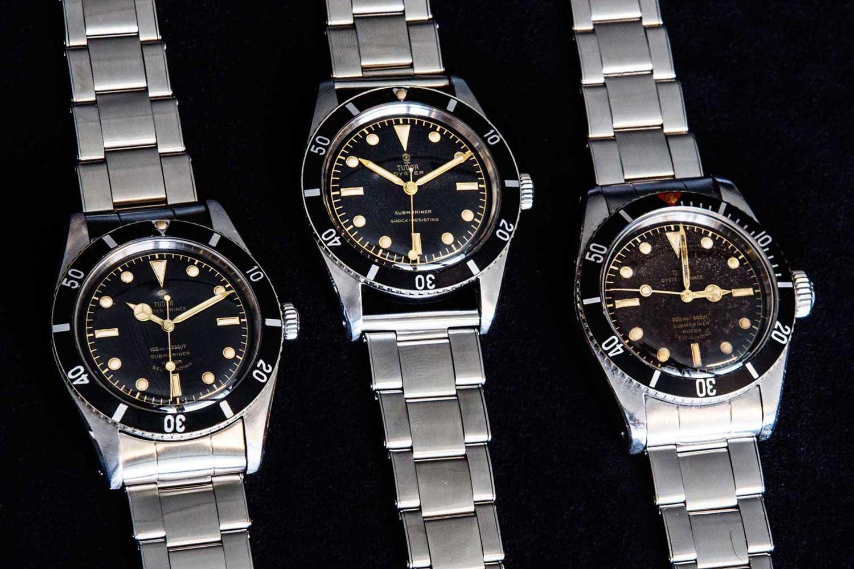 From left to right – Tudor Submariner 7922 (1954) – Tudor Submariner 7923 (1955) – Tudor Submariner 7924 (1958) (Image: monochrome-watches.com)