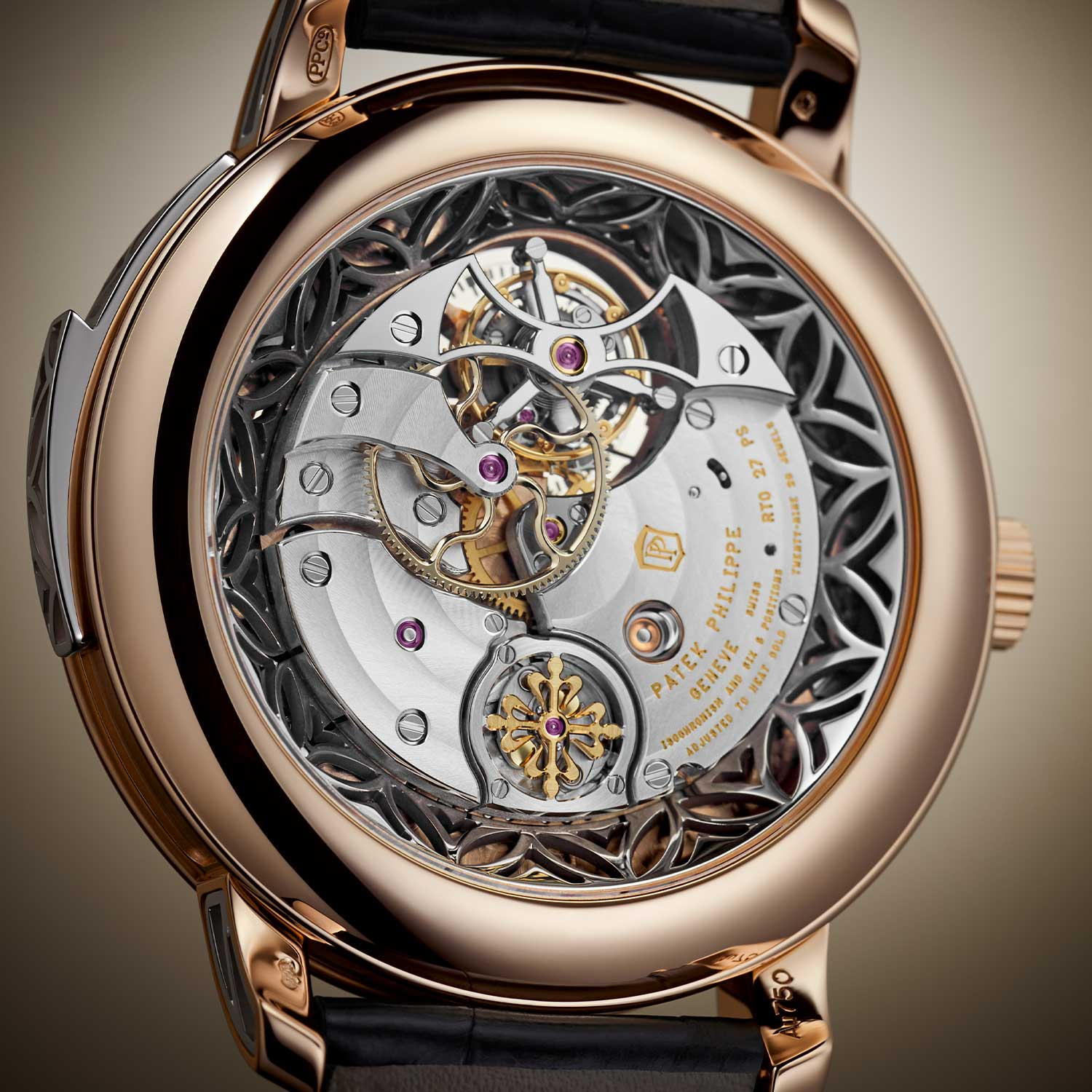 The Caliber R TO 27 PS of the 5303 showing the right side up of the tourbillon cage