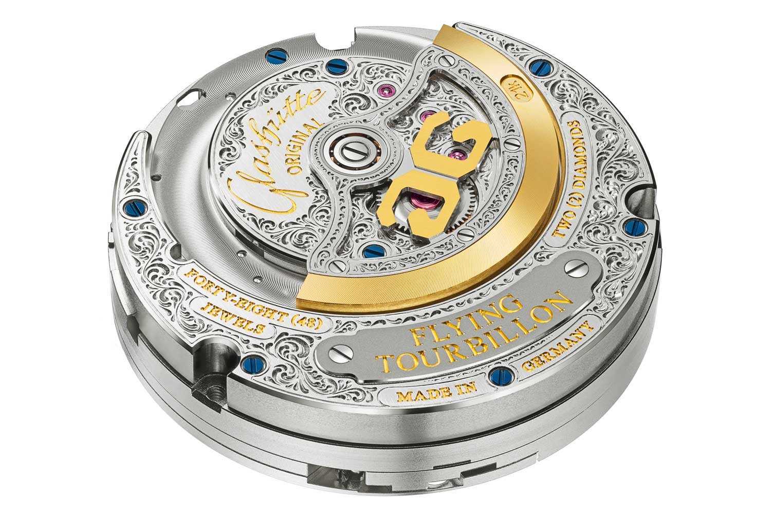 Elaborate engravings adorn the back as well, the automatic movement Calibre 93-12 revealed through the sapphire crystal case back.