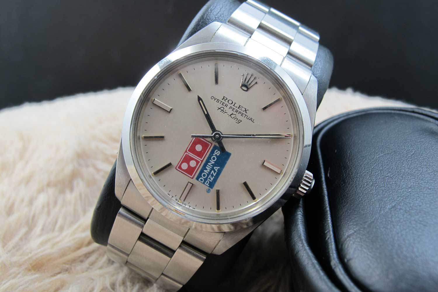 1987 Rolex Air King ref. 5500 with a Domino's Pizza dial (Image: alexpig.com)
