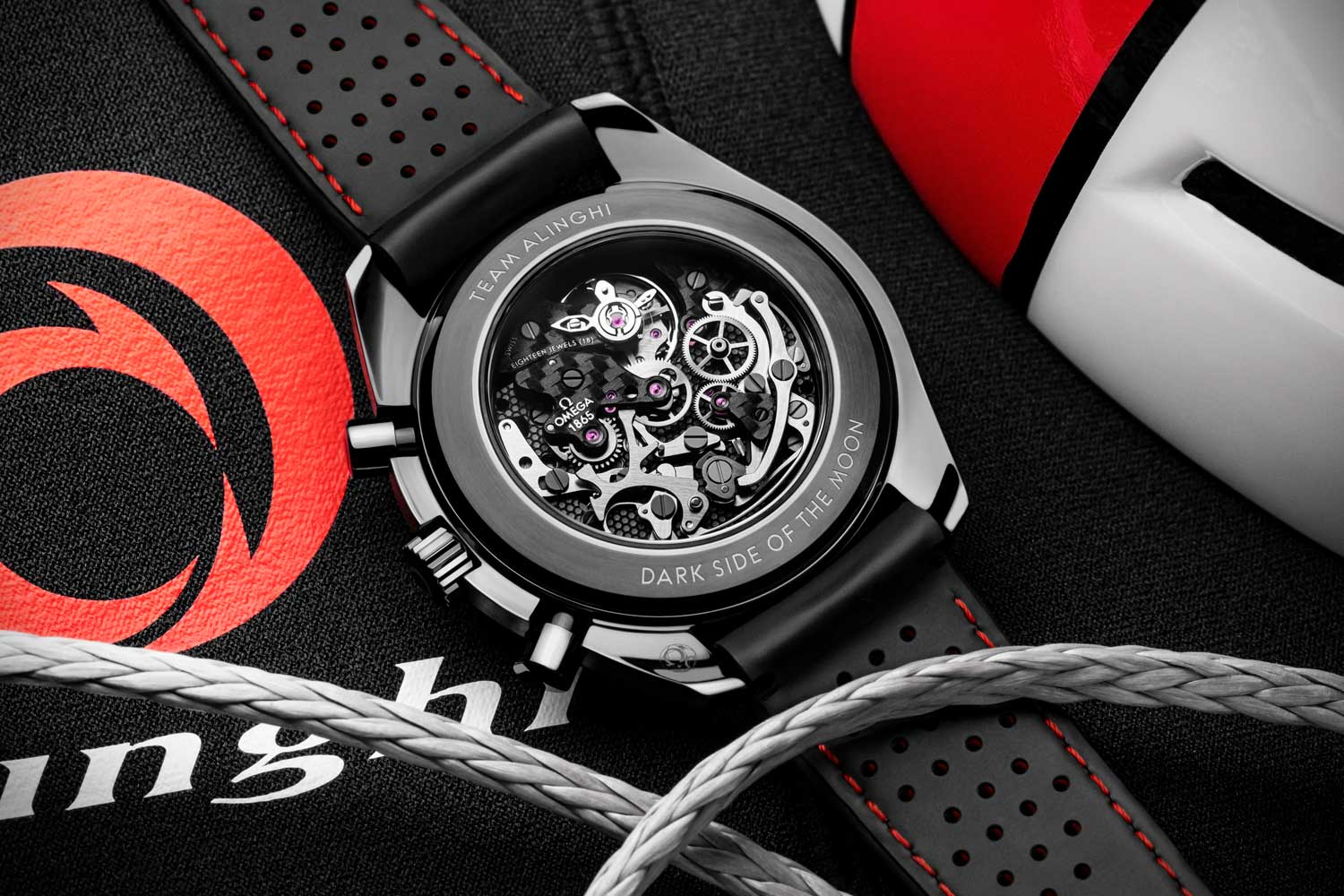 A caseback view of the Speedmaster Alinghi showing off the caliber 1865 which is also decorated using laser ablation to reflect the honeycomb effect the similar to the interior of the Alinghi boat's carbon hull