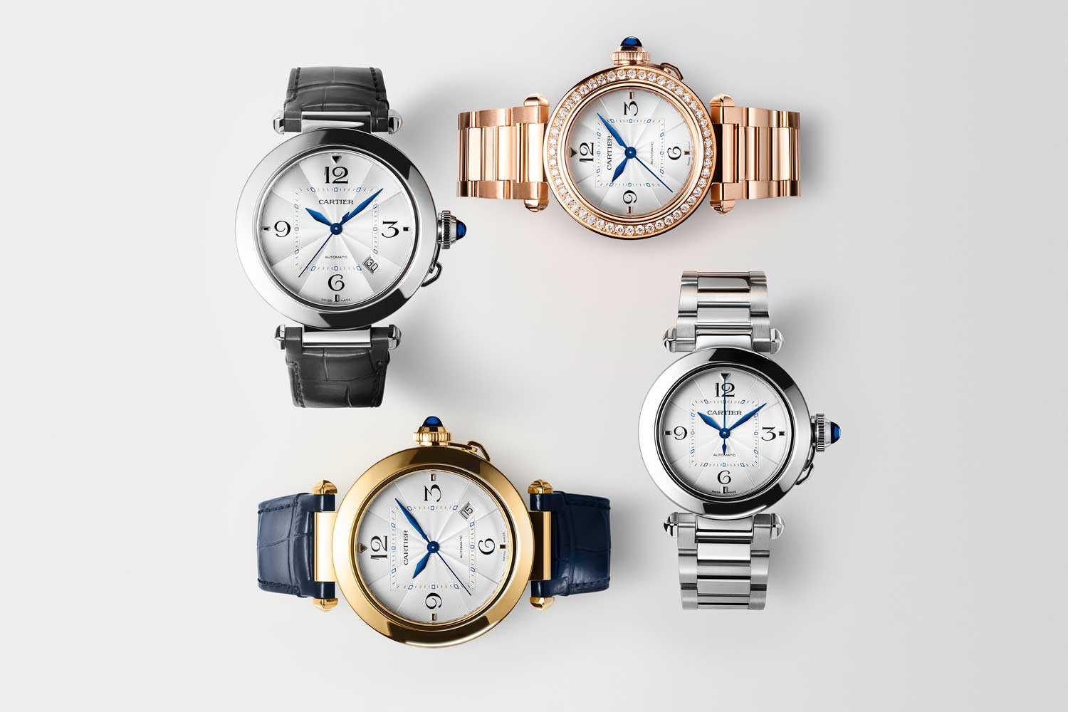 The new Pasha de Cartier family is available in steel, yellow and pink gold, in two sizes with alligator leather straps or bracelets