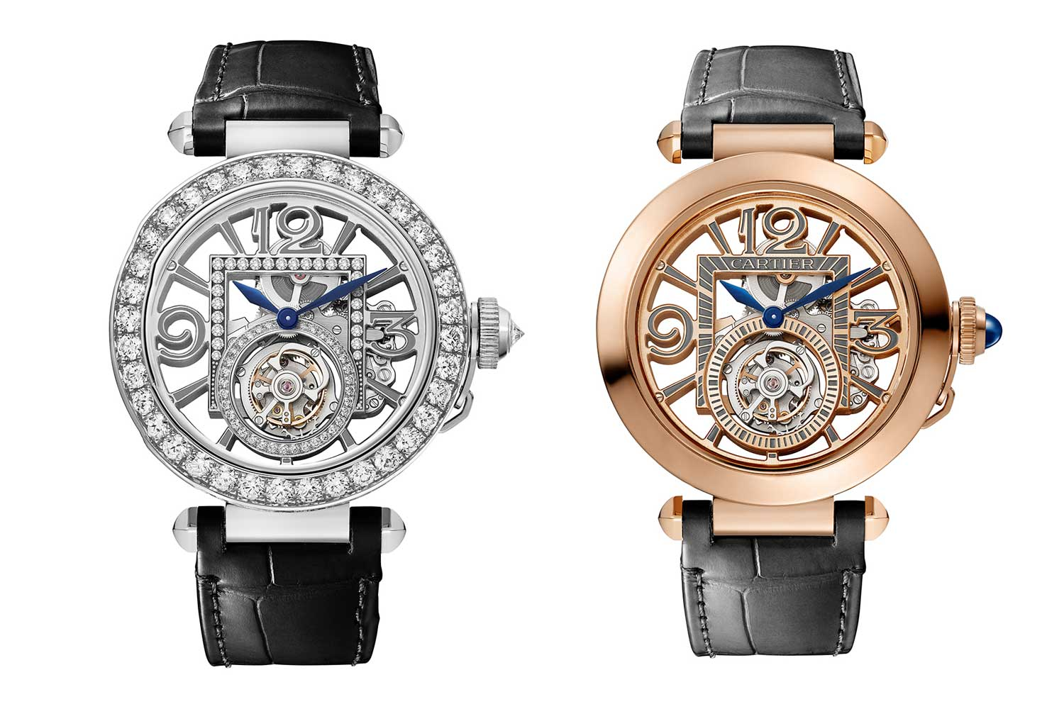 The Pasha de Cartier Skeleton Tourbillon in diamond-set white gold case or pink gold