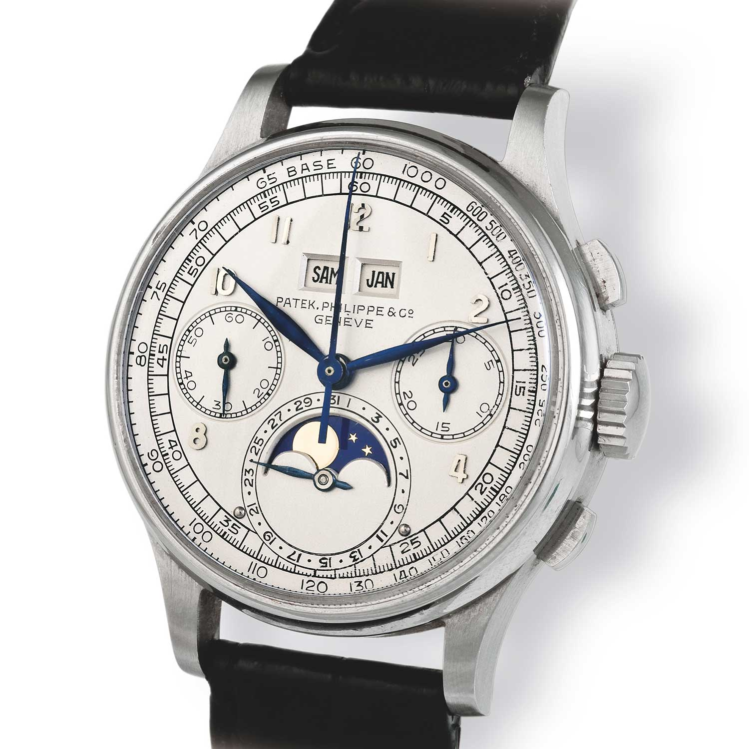 An exceedingly rare stainless-steel Patek Philippe ref. 1518, an example of Patek Philippe's first serially produced chronograph perpetual calendar launched in 1941 and discontinued in 1954) (Image: John Goldberger)