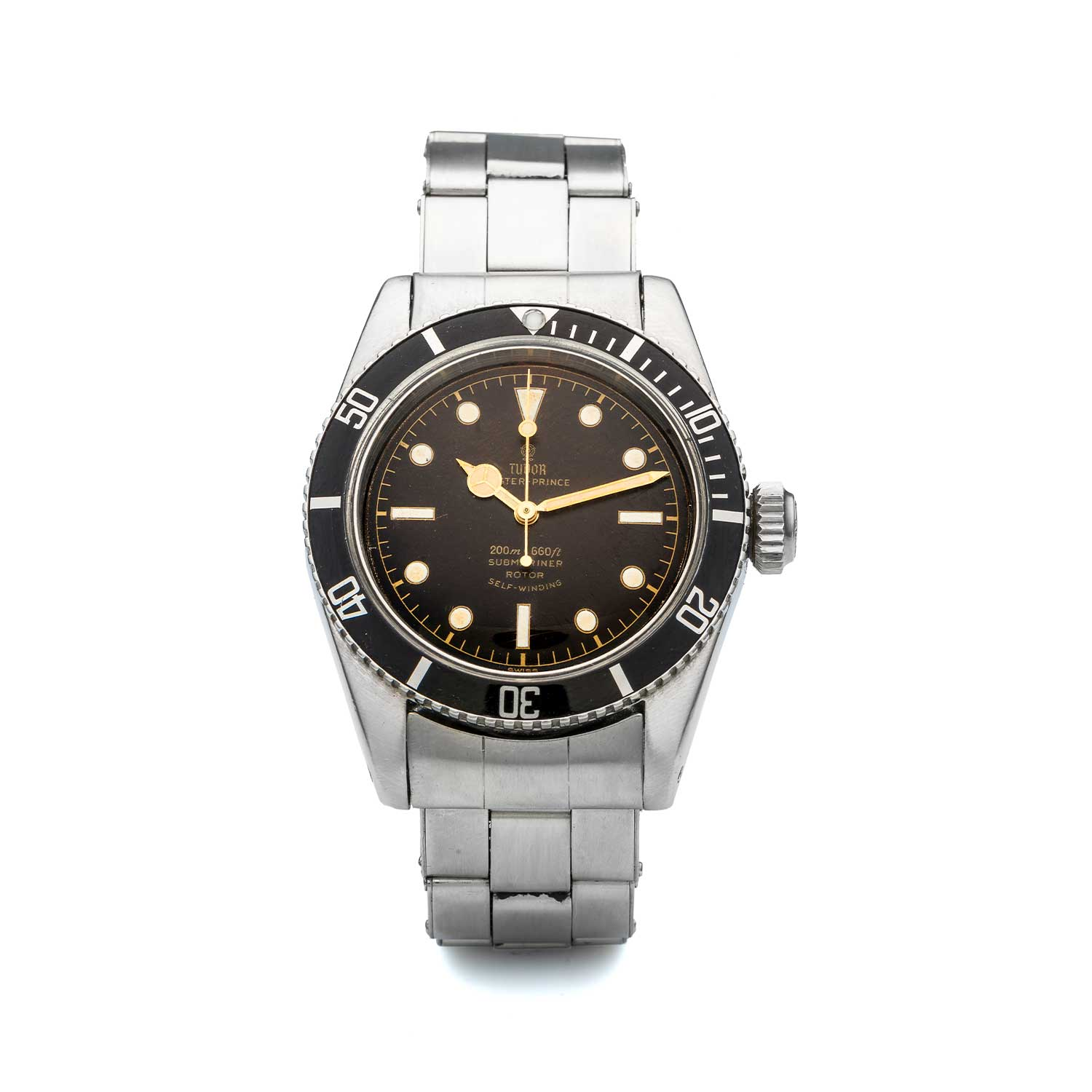 "A 1958 ""Big Crown"" Tudor Oyster Prince Submariner ref. 7924 with a tropical dial (Image: antiquorum.swiss)"