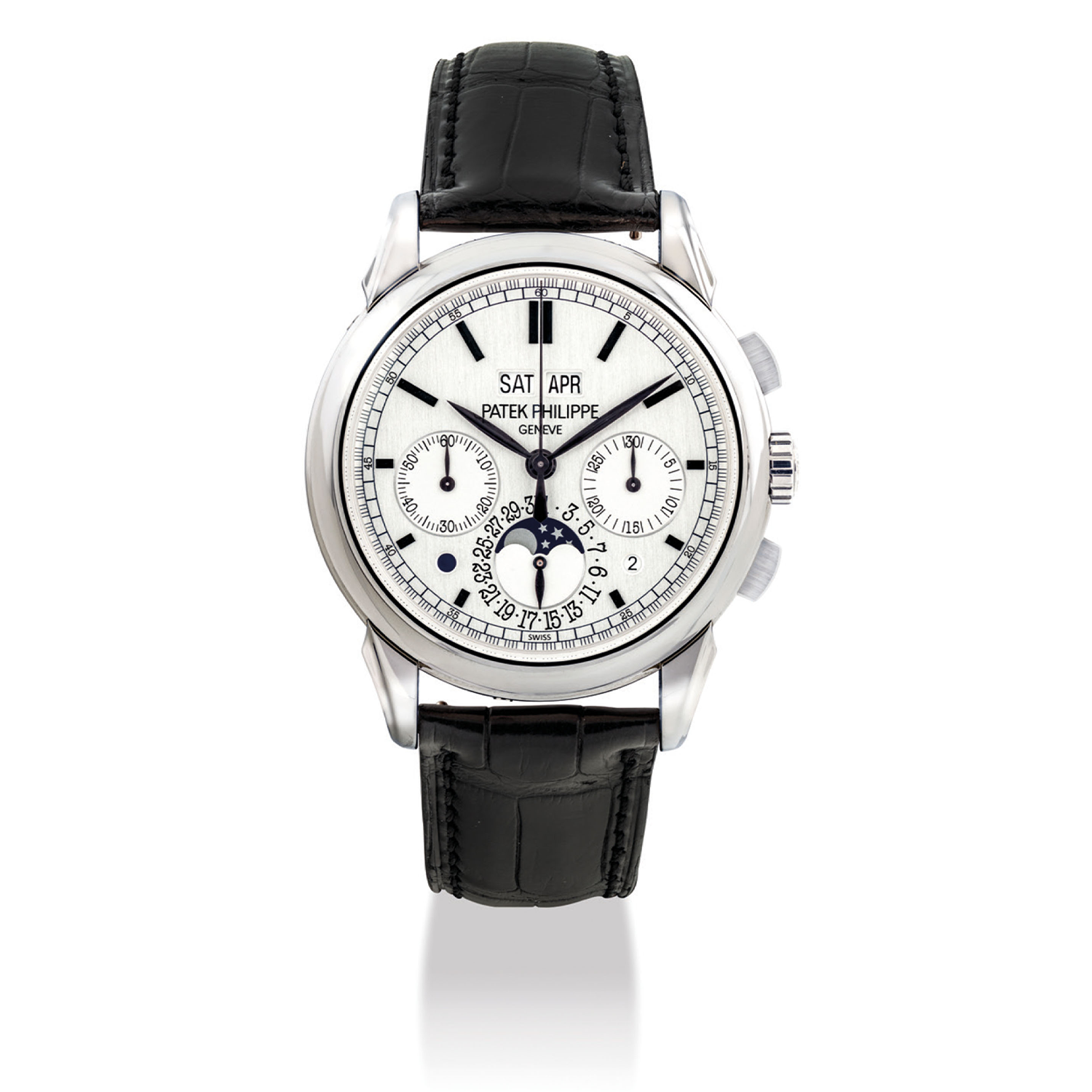 The 5270 Perpetual calendar's first generation was launched in white gold, in 2011 and then discontinued in 2017; this early version of the watch did not have a tachymeter scale