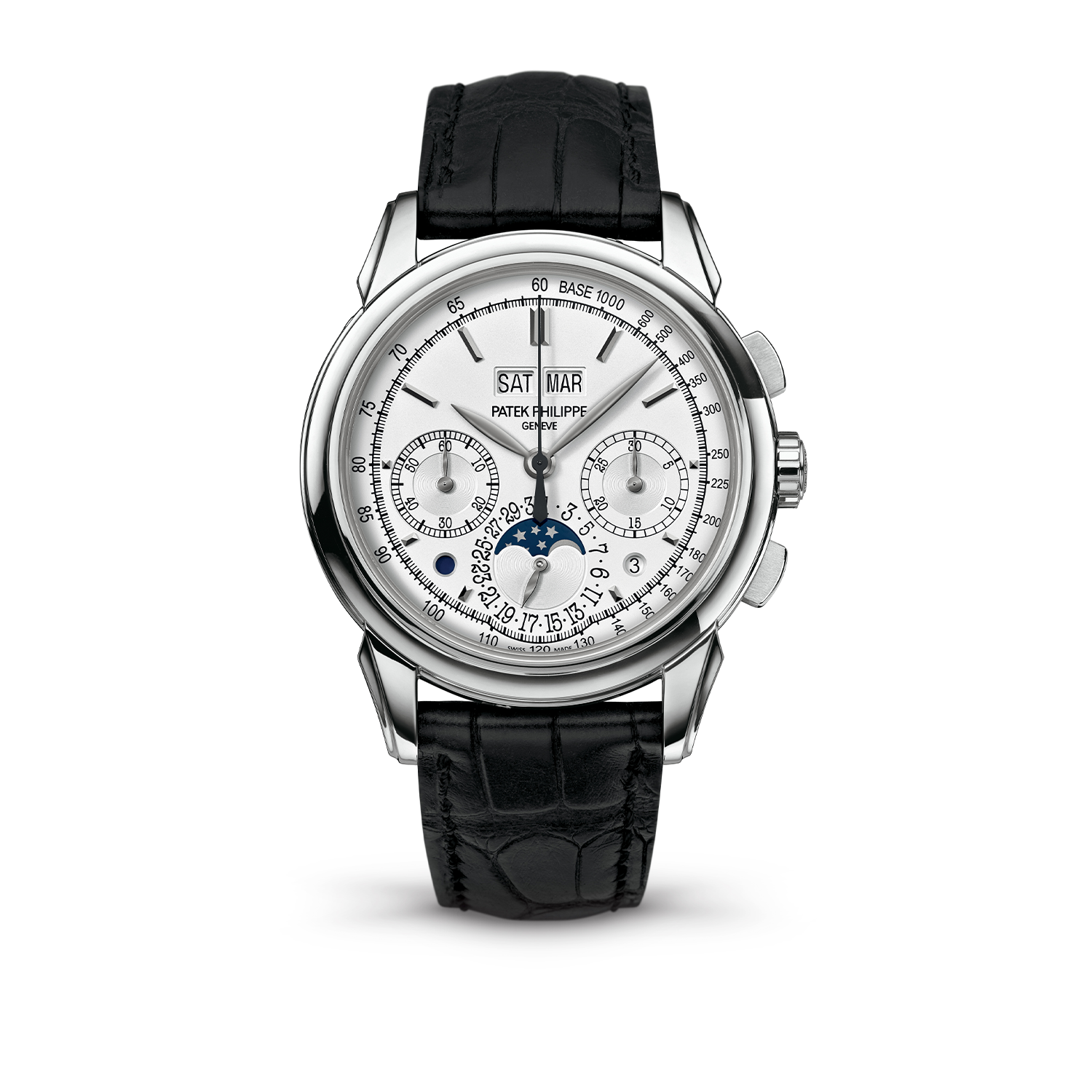 "2013 version of the Patek Philippe ref. 5270G, the 5270G-013 with the infamous ""chin"" and tachymeter scale on the watch dial, this second version of the white gold 5270 was discontinued in 2017"