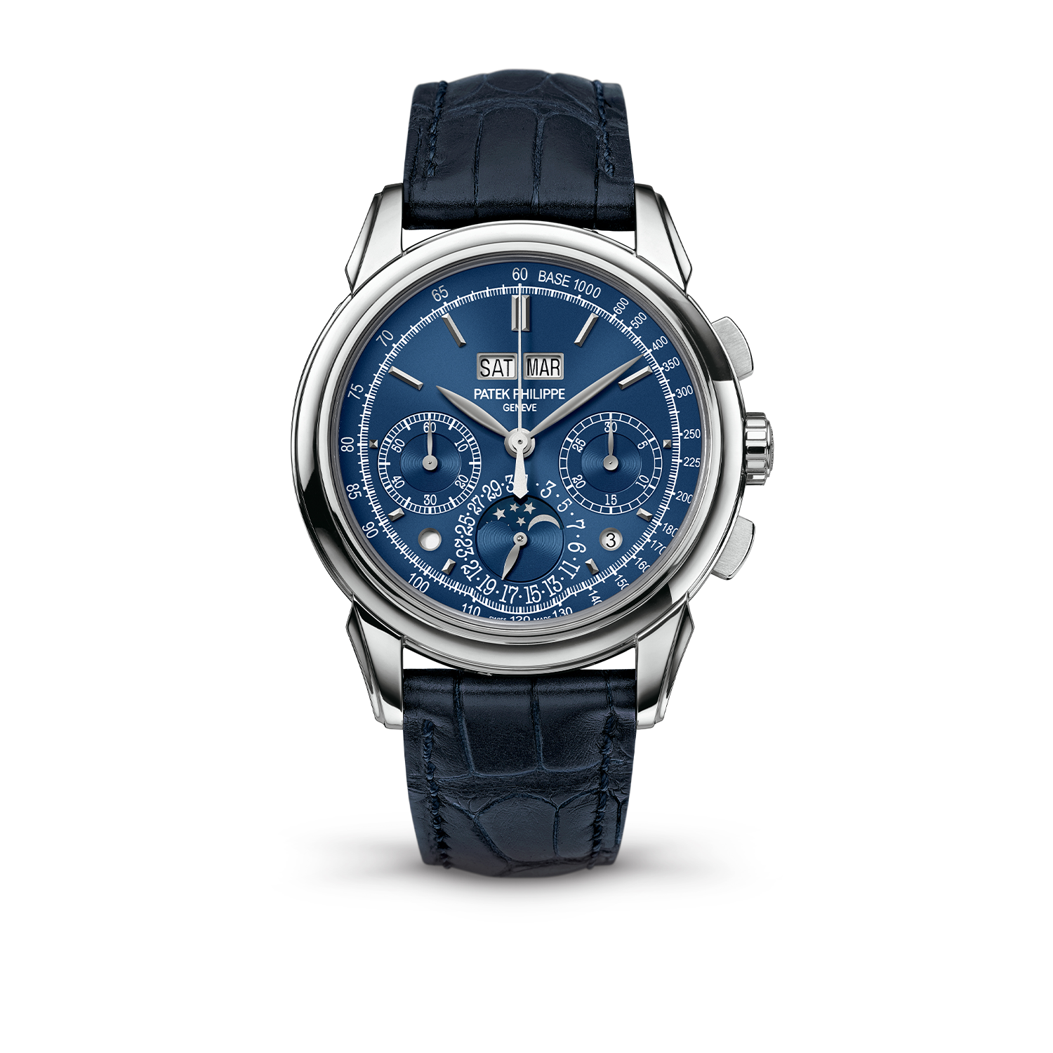 "2014 version of the Patek Philippe ref. 5270 in white gold with the blue dial, still with the infamous ""chin"" on the watch dial"