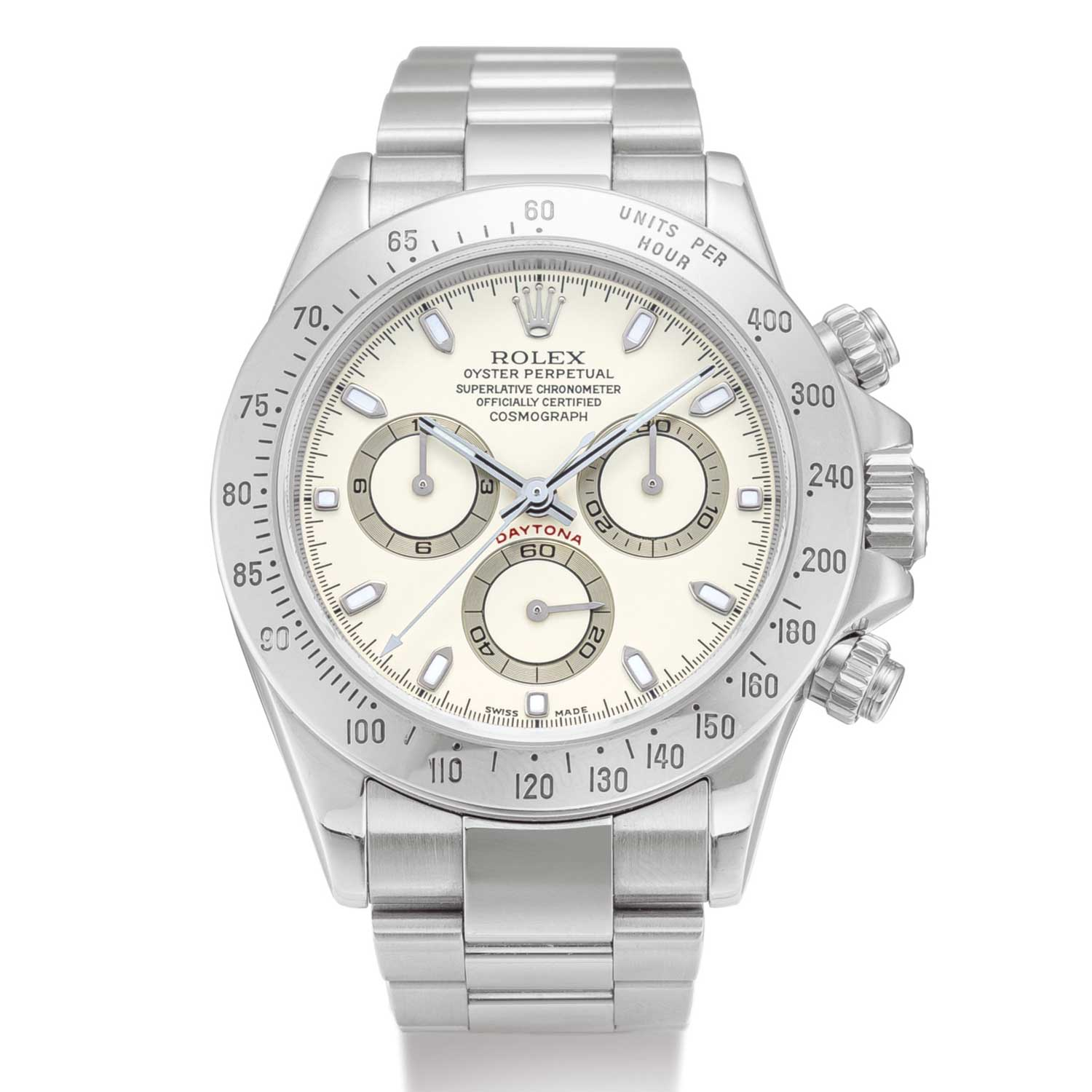 Rolex Cosmograph Daytona, Reference 116520 A Stainless Steel Chronograph Wristwatch With Cream Dial And Bracelet, Circa 2000