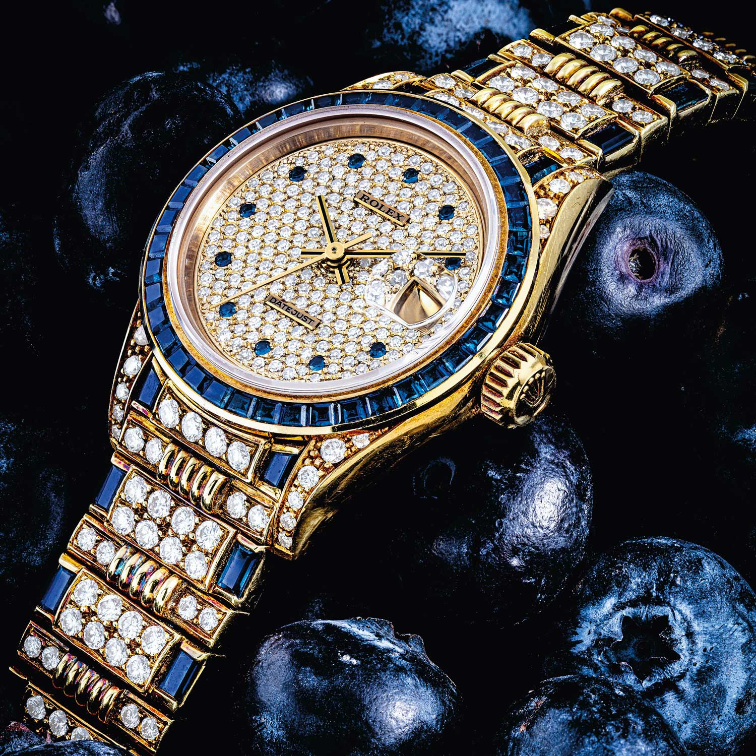 Lot 2240: Rolex Lady's Datejust with Diamonds and Sapphires, Ref. 69028