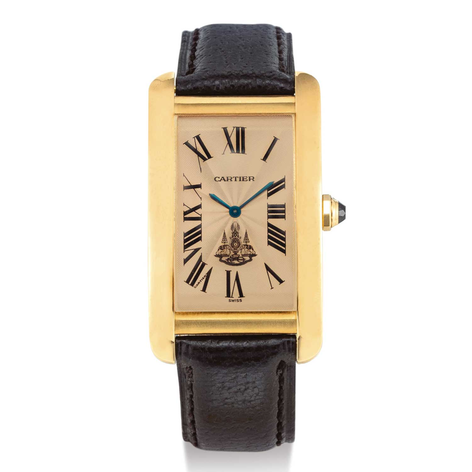 Cartier Tank Americaine, Reference 1735 1 A Yellow Gold Wristwatch With Salmon Dial, Made For King Of Siam, Circa 1990