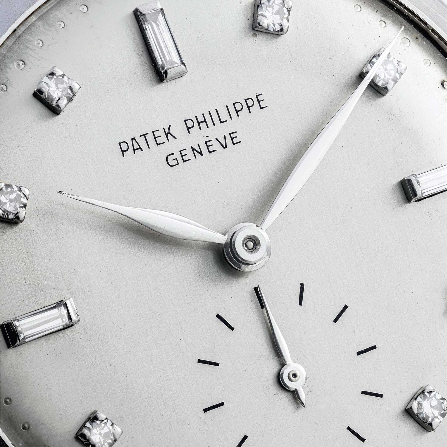 Lot 2481: Patek Philippe Platinum Calatrava with Diamond Hour Markers and 18k White Gold Bracelet, Ref. 2484, Confirmed by the extract from The Archives