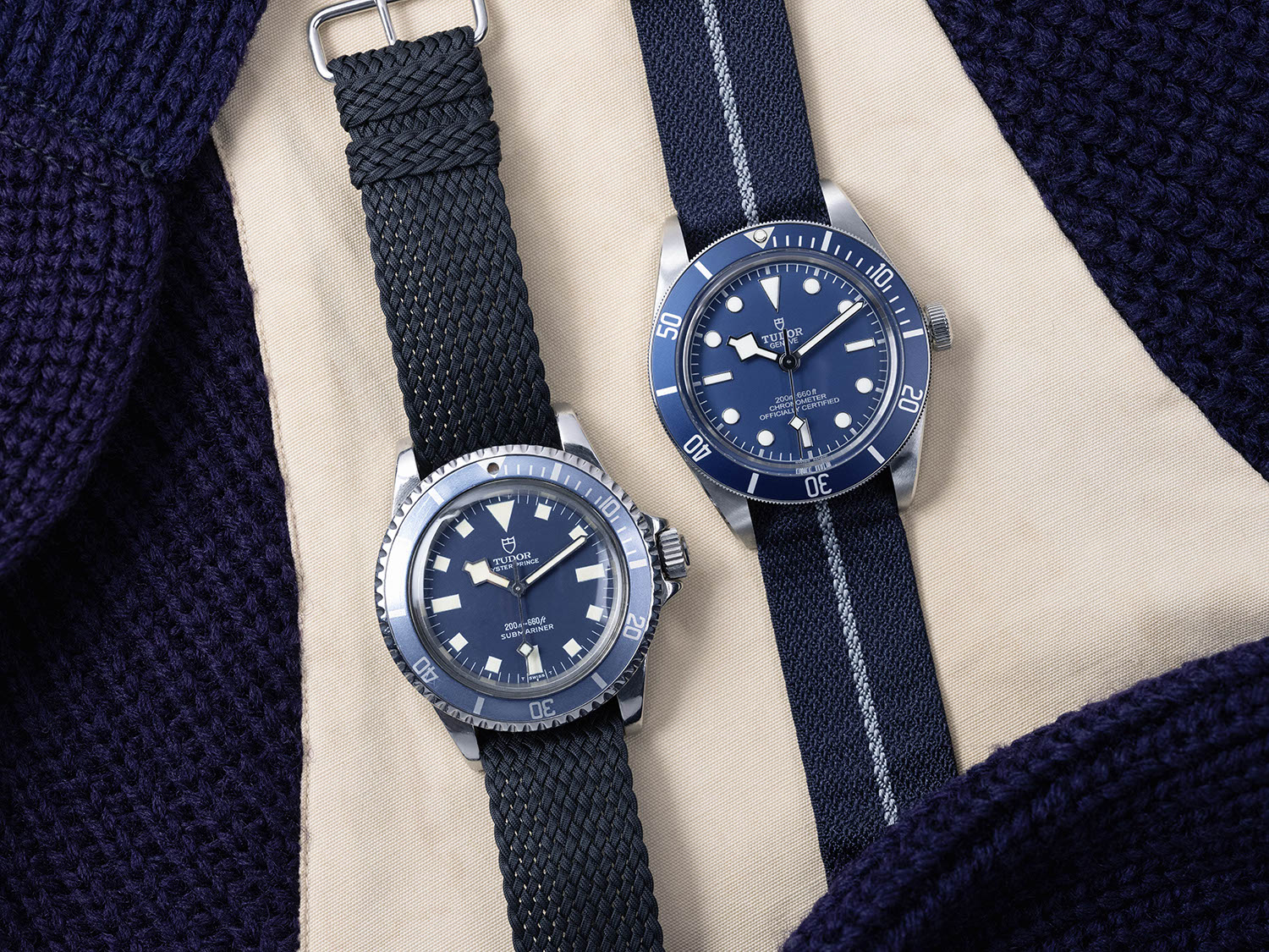 The Tudor BB58 Navy Blue seen with it's direct ancestor, the 1969 Tudor Prince Oyster Submariner ref. 7016