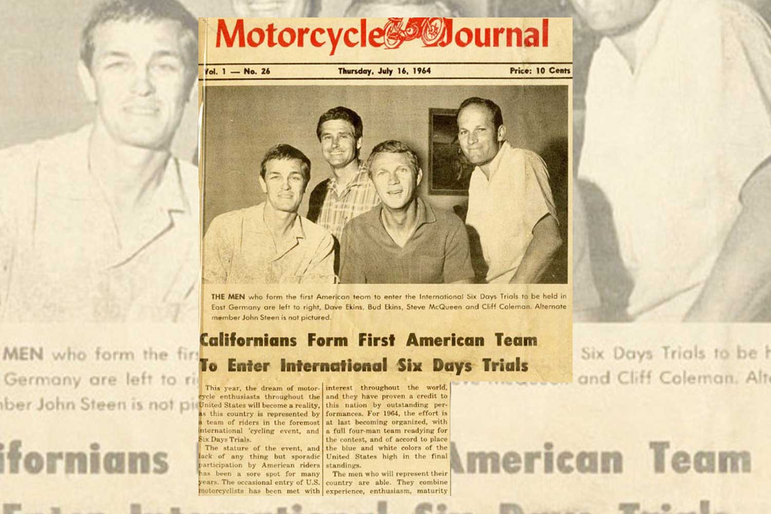 A clip out from the Motorcycle Journal announcing the 1964 ISDT team (Image: speedtracktales.com)