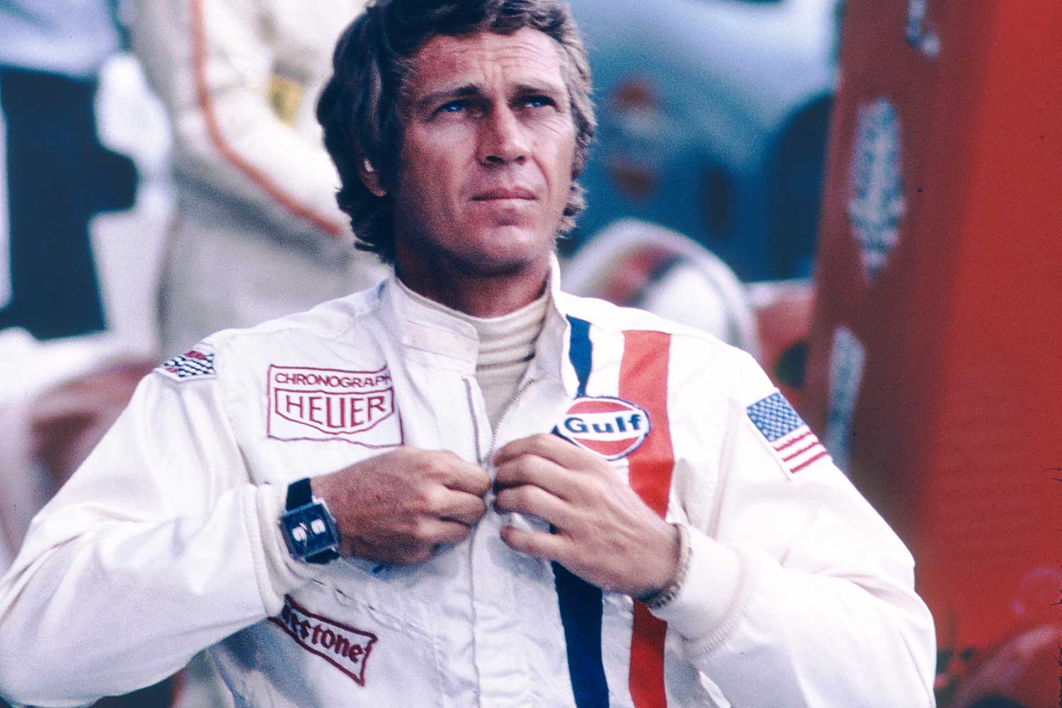 Steve McQueen on the set of Le Mans wearing the Heuer Monaco, that has now become synonymous with the film and his own name, even though the watch wasn't a personal watch of his (Image: TAG Heuer)