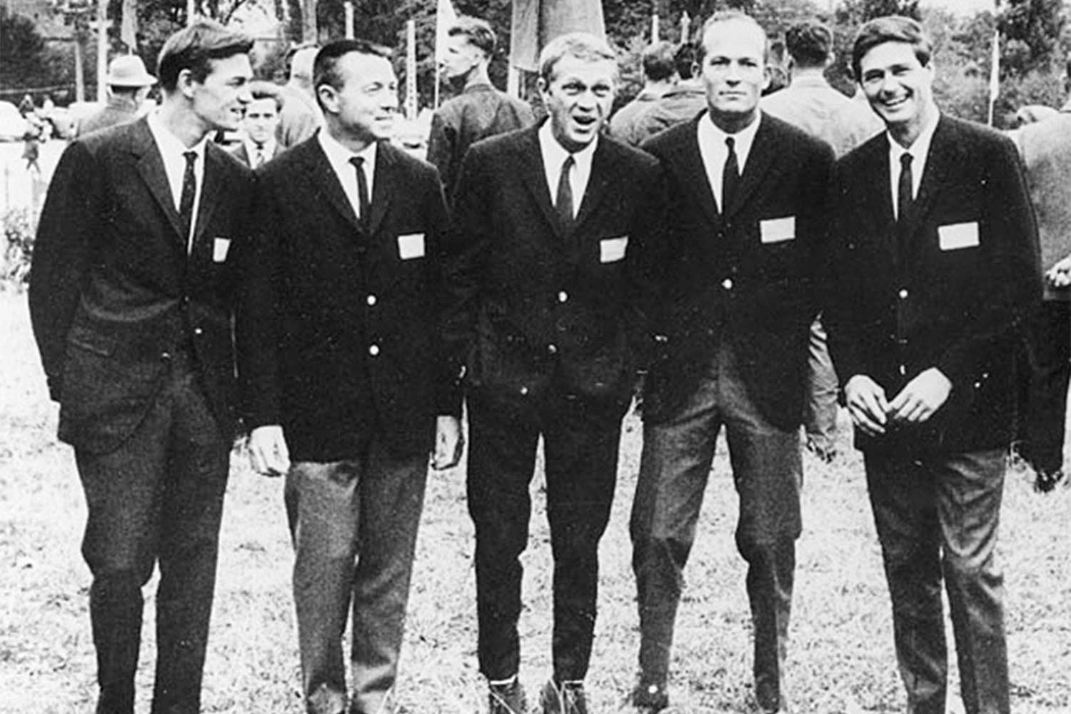 "Dubbed the ""California Boys""; Steve McQueen in the center, were the first American team to ever compete in the ISDT (Image: François Gragnon / speedtracktales.com)"